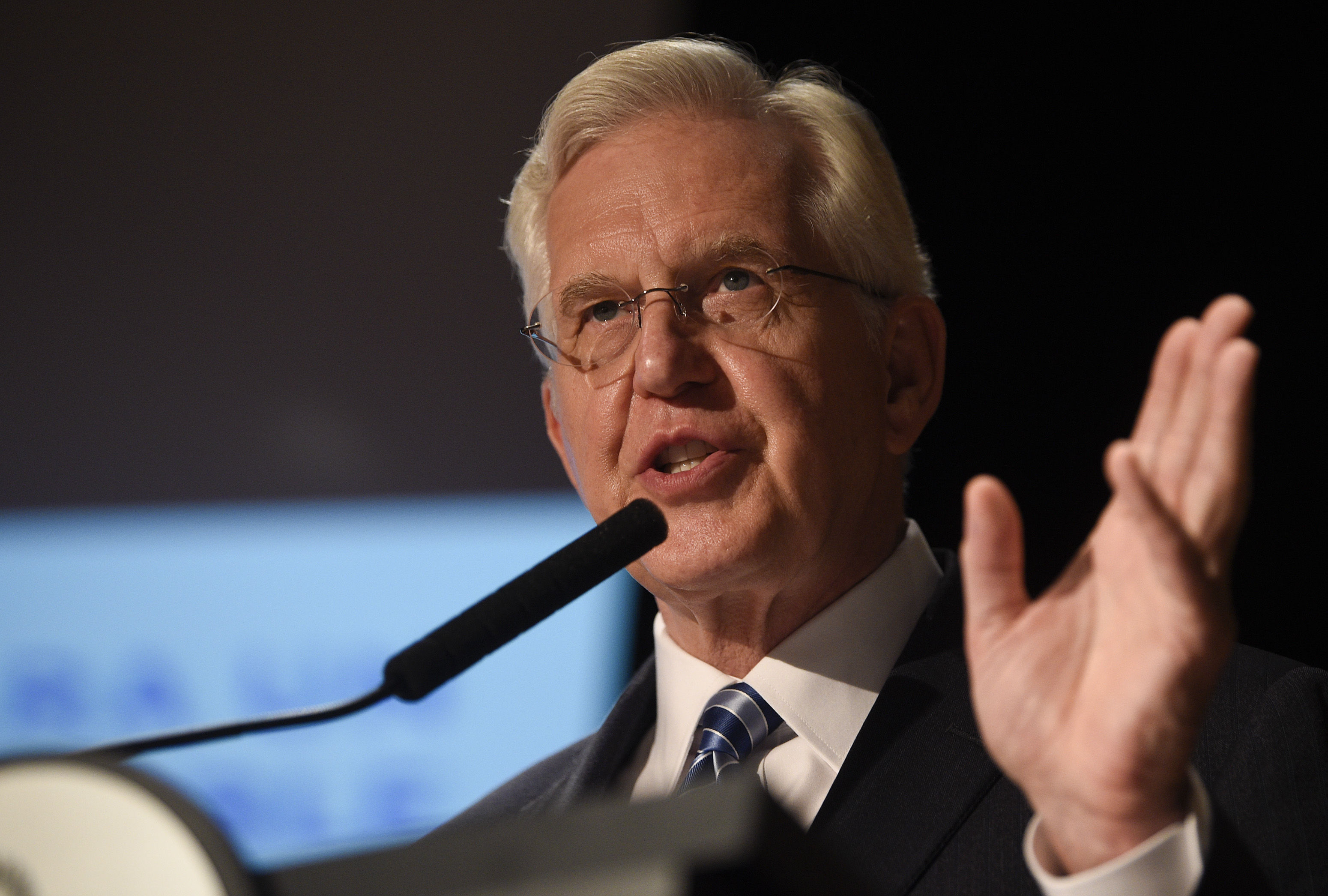 Elder D. Todd Christofferson member of Twelve Apostles of The Church of Jesus Christ of Latter-day Saints talks at the G20 Interfaith Forum in Buenos Aires, Argentina, Sunday, Sep 26, 2018. (AP Photo/Gustavo Garello)