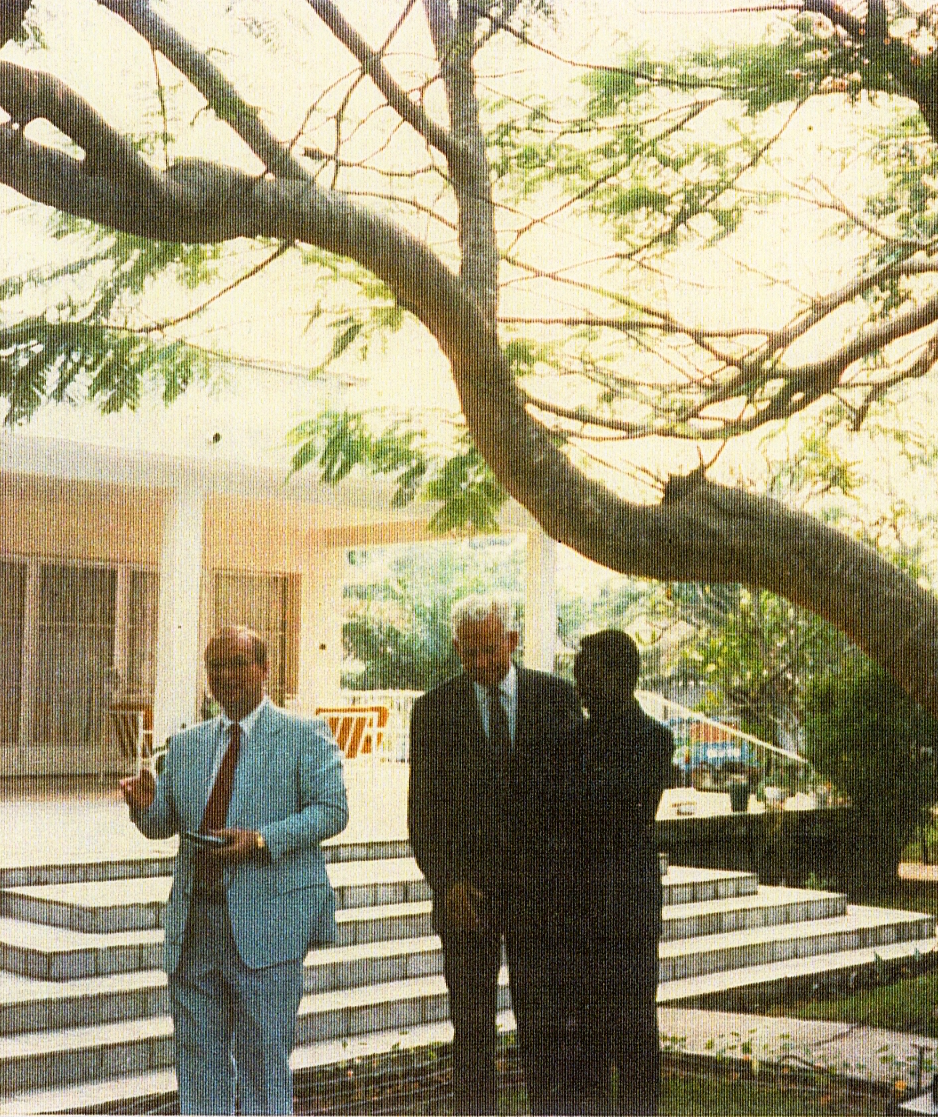 Kinshasa Branch President Michael C. Bowcutt, Elder Marvin J. Ashton of the Quorum of the Twelve Apostles, and Mbuyi Nkitabungi gather on the morning of Aug. 30, 1987, the day Elder Ashton dedicated Zaire (now the Democratic Republic of the Congo) for the preaching of the gospel. President Bowcutt was employed at the U.S. Embassy in Kinshasa.