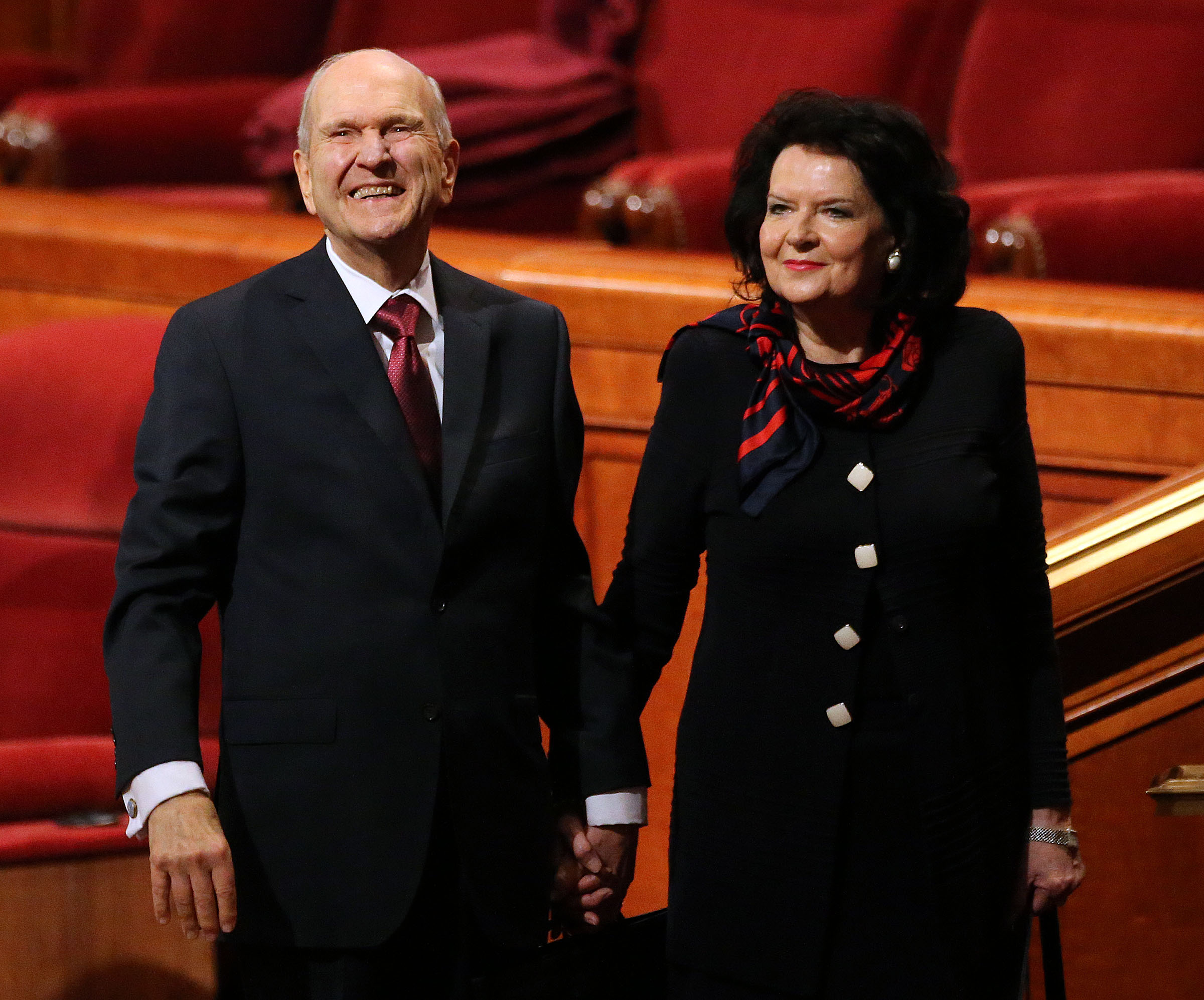 President Russell M. Nelson and his wife, Sister Wendy Watson Nelson, leave the Sunday morning session of the 188th Annual General Conference of The Church of Jesus Christ of Latter-day Saints at the Conference Center in Salt Lake City on Sunday, April 1, 2018.