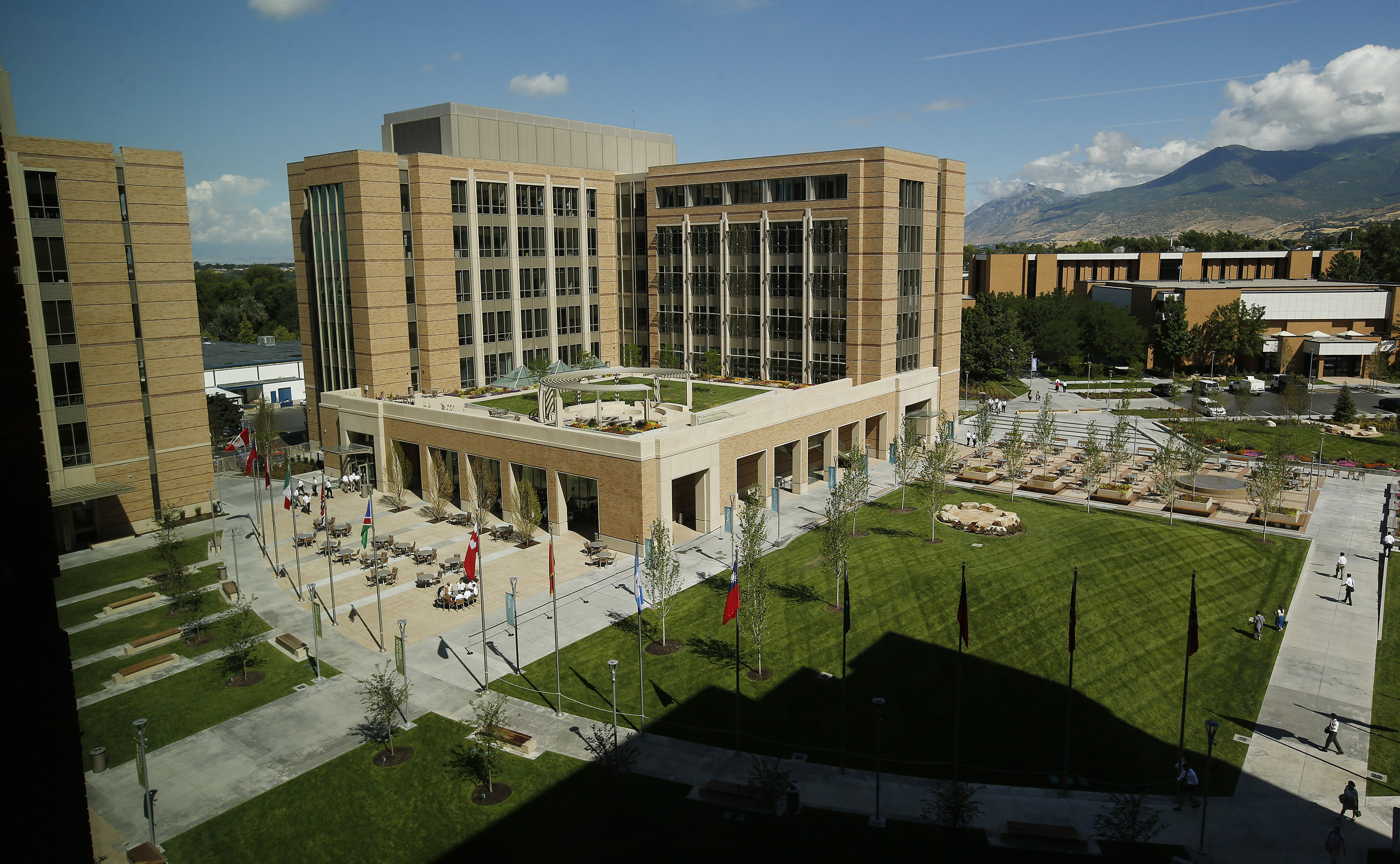 An overhead view from the new T4 training building at the Provo Missionary Training Center show the open spaces — tables, benches, walkways and such — between the T4 and T3 buildings in Provo on Wednesday, July 26, 2017.