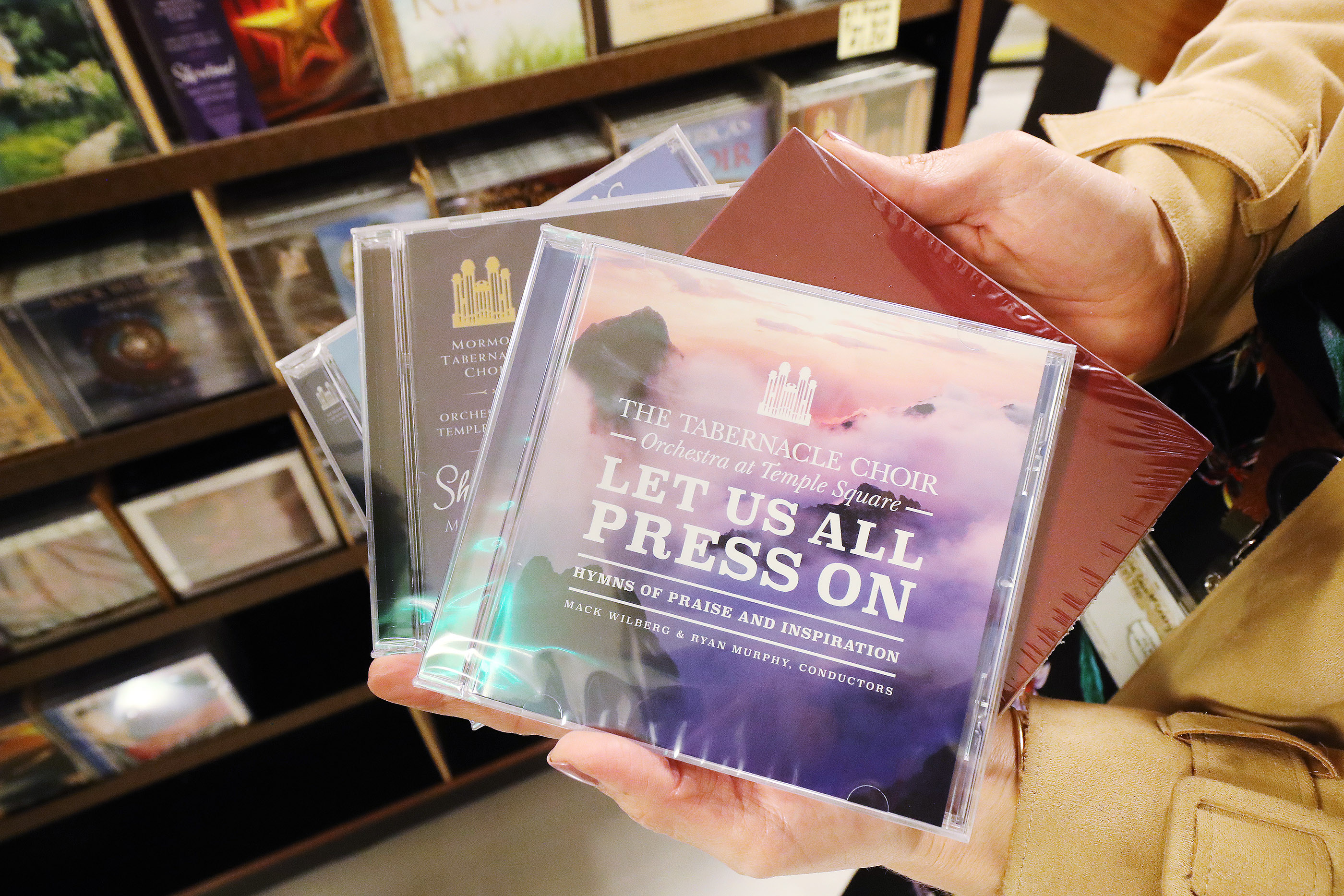 CDs of The Tabernacle Choir at Temple Square in Salt Lake City on Thursday, April 11, 2019. Four people were selected through social media to sing with the choir.
