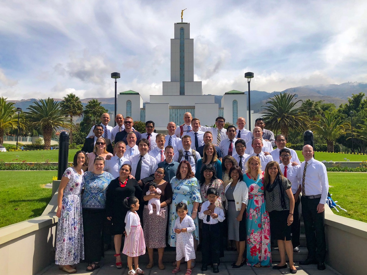 Some of the mission reunion group pose for a photo outside the Cochabamba Bolivia Temple in October when they returned for a reunion trip.
