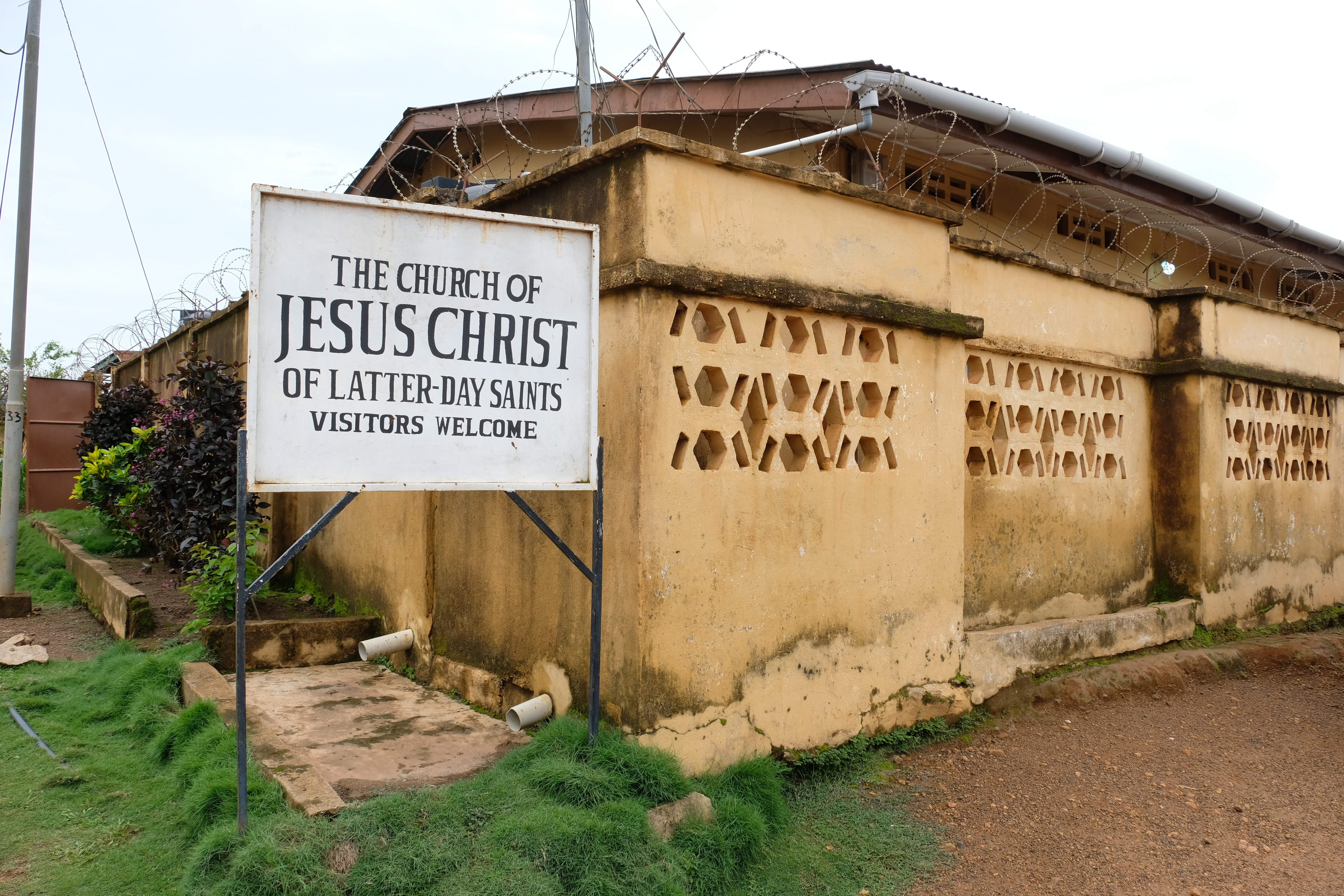 A meetinghouse of The Church of Jesus Christ of Latter-day Saints in Sierra Leone. Sister Jean B. Bingham, Relief Society general president, visited the West African country June 5 through June 16, 2019.