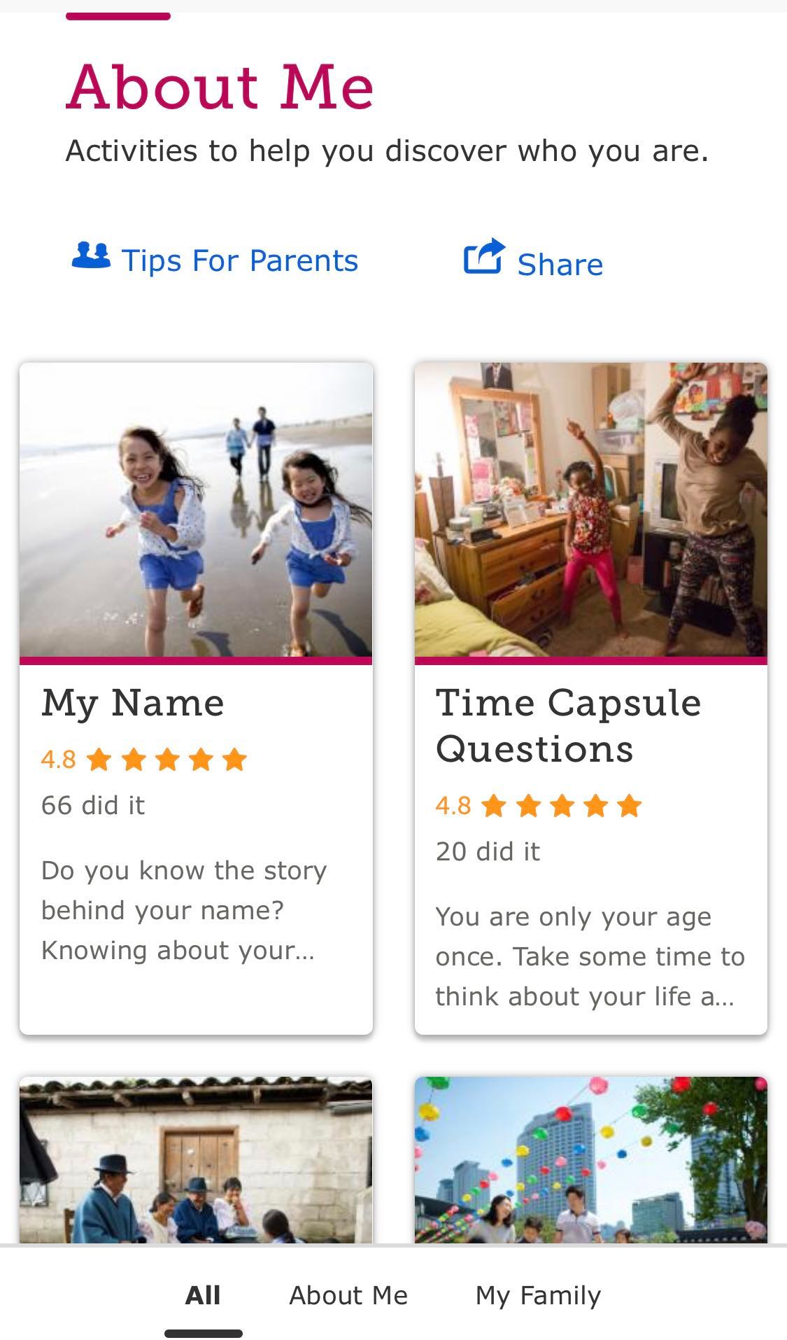 "A screenshot of the mobile-app landing page for ""About Me"" options of in-home family history activities."