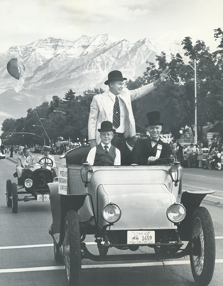 1975 Centennial Founder's Day featured Pres. Oaks riding in horseless carriage.