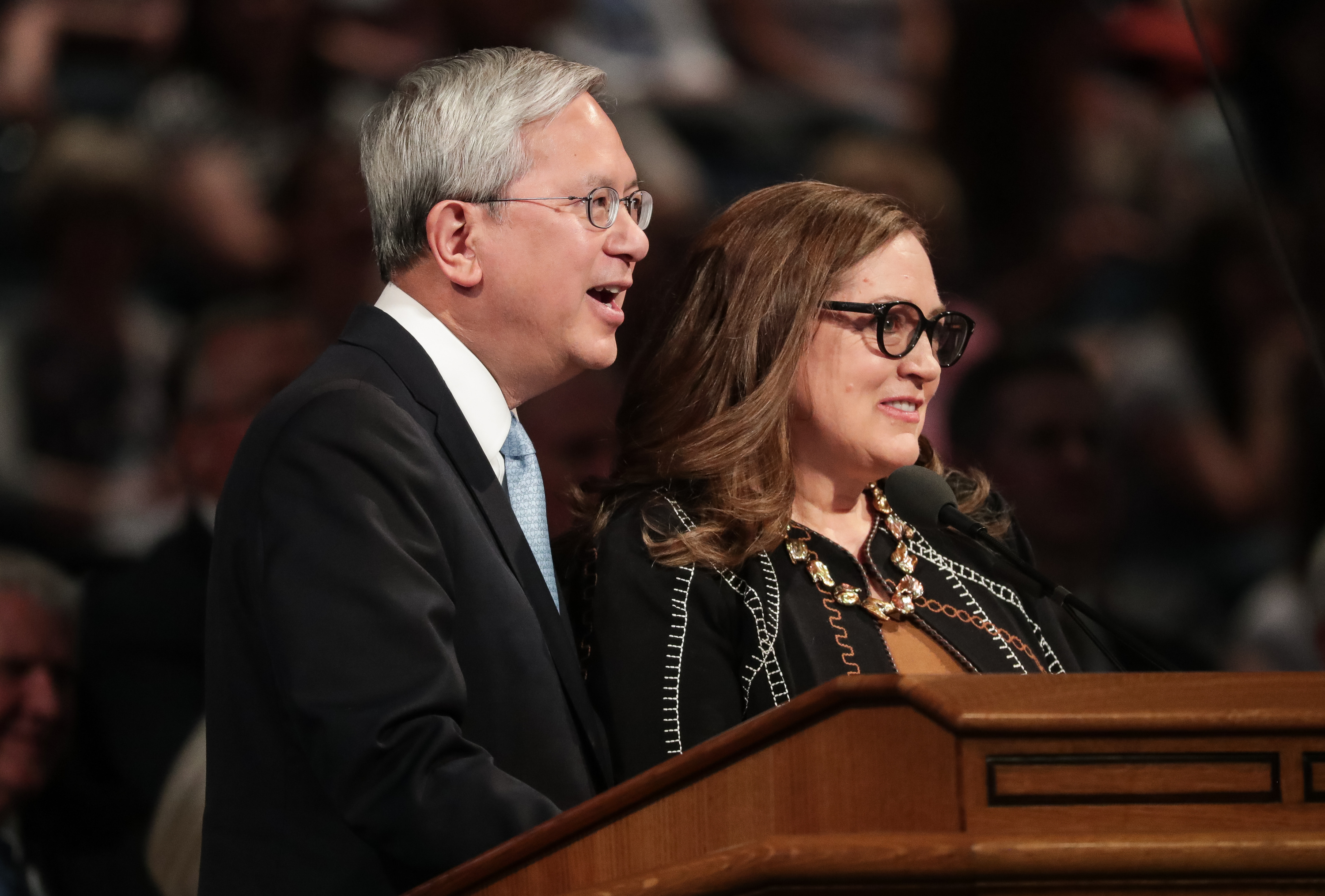 Elder Gerrit W. Gong, of the Quorum of the Twelve Apostles of the LDS Church, and his wife, Sister Susan Gong, speak at the BYU Women's Conference at the Marriott Center in Provo on Friday, May 4, 2018.