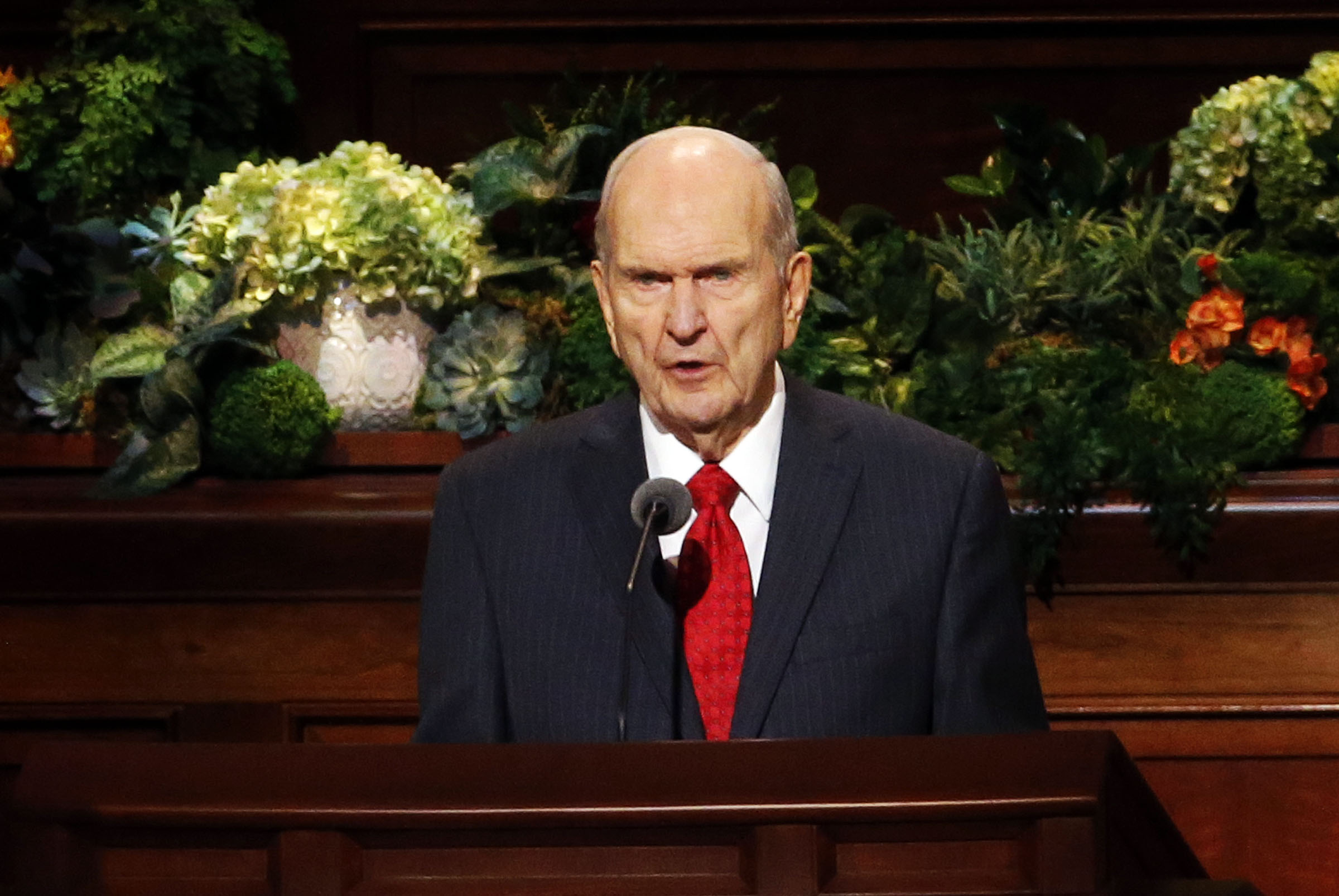 President Russell M. Nelson of The Church of Jesus Christ of Latter-day Saints speaks during the priesthood session of the 189th Annual General Conference in the Conference Center in Salt Lake City on Saturday, April 6, 2019.