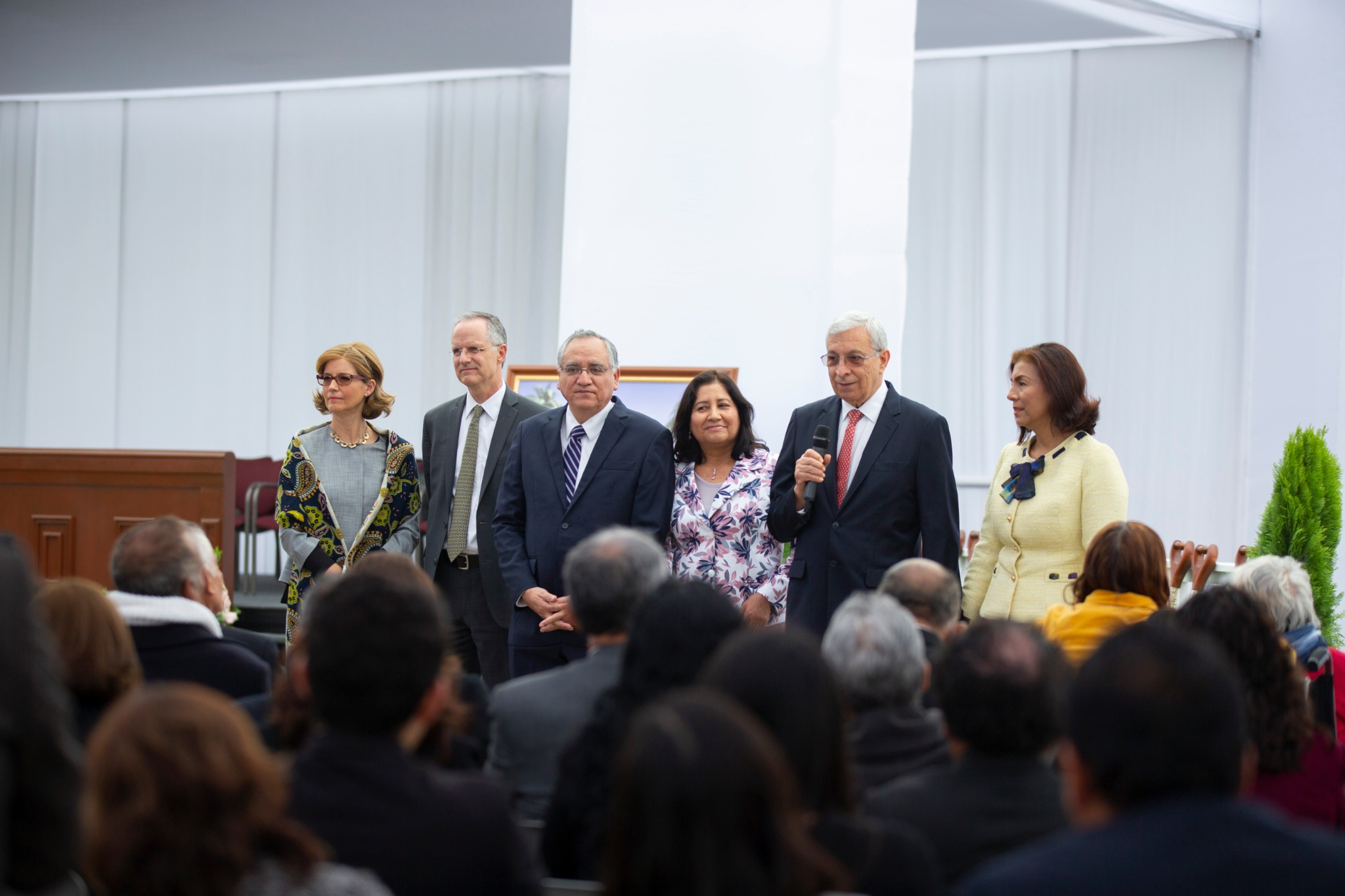 Elder Enrique R. Falabella, a General Authority Seventy and the president of the South America Northwest Area, speaks to Church members at the groundbreaking of the Lima Peru Los Olivos Temple on Saturday, June 8, 2019.