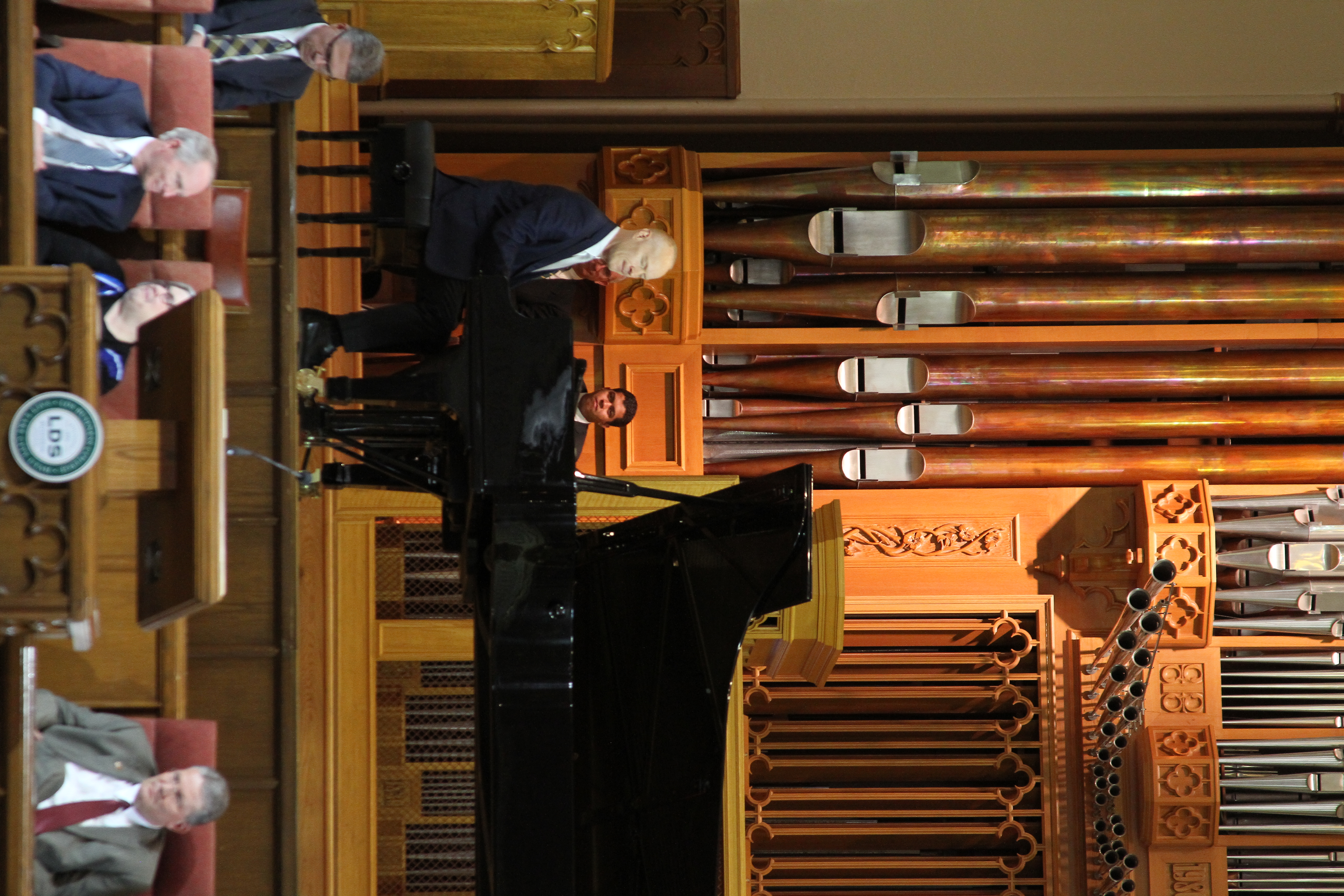 Jon Schmidt performs during an LDS Business College devotional in the Assembly Hall on Temple Square on March 26, 2019.