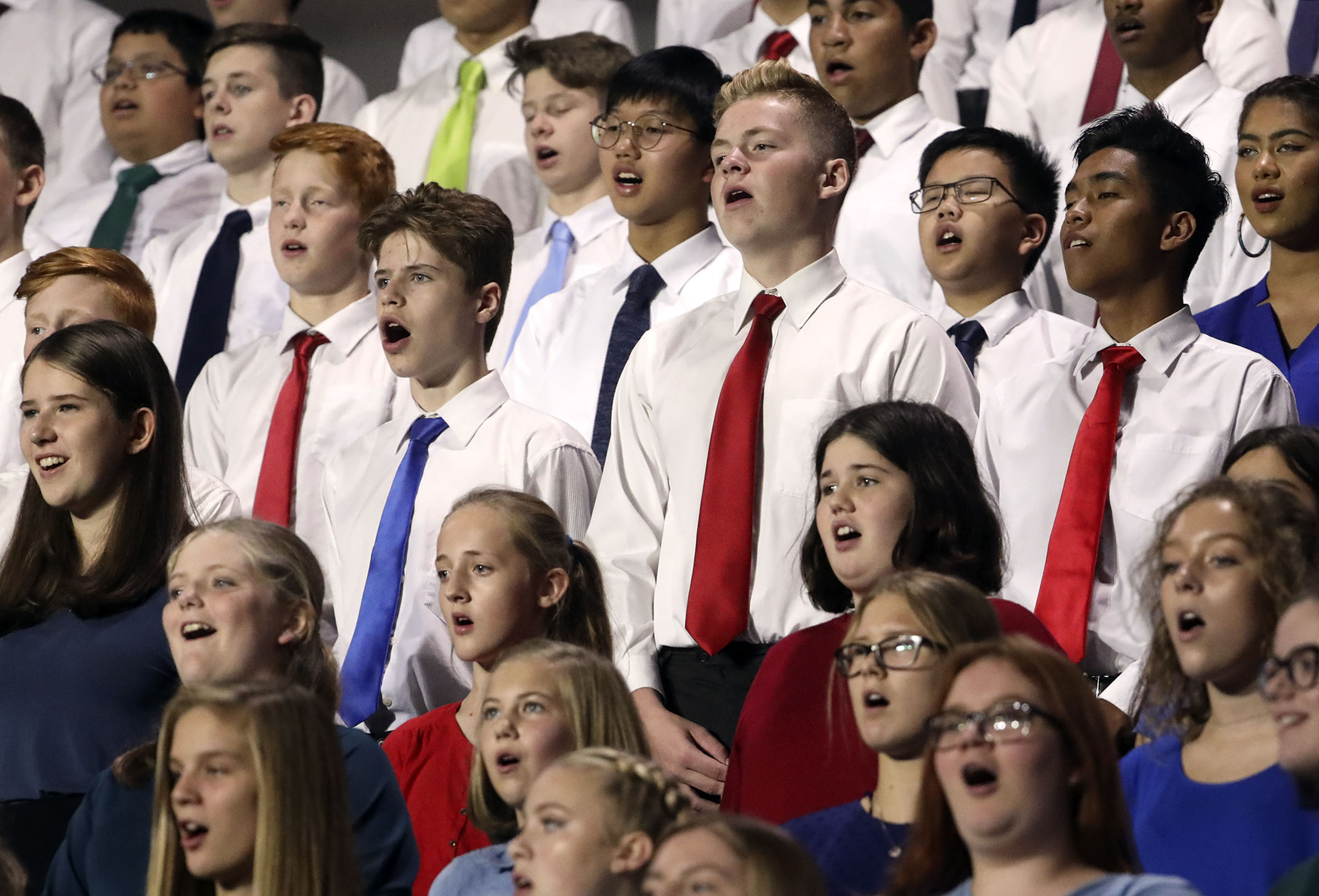 Members of the Vancouver Tri-State Youth Choir sing before President Russell M. Nelson of The Church of Jesus Christ of Latter-day Saints speaks at the Langley Events Center in Langley, British Columbia, on Sunday, Sept. 16, 2018.Church leaders announced the 2020 youth theme in a notice sent to general and local leaders on Aug. 1, 2019.