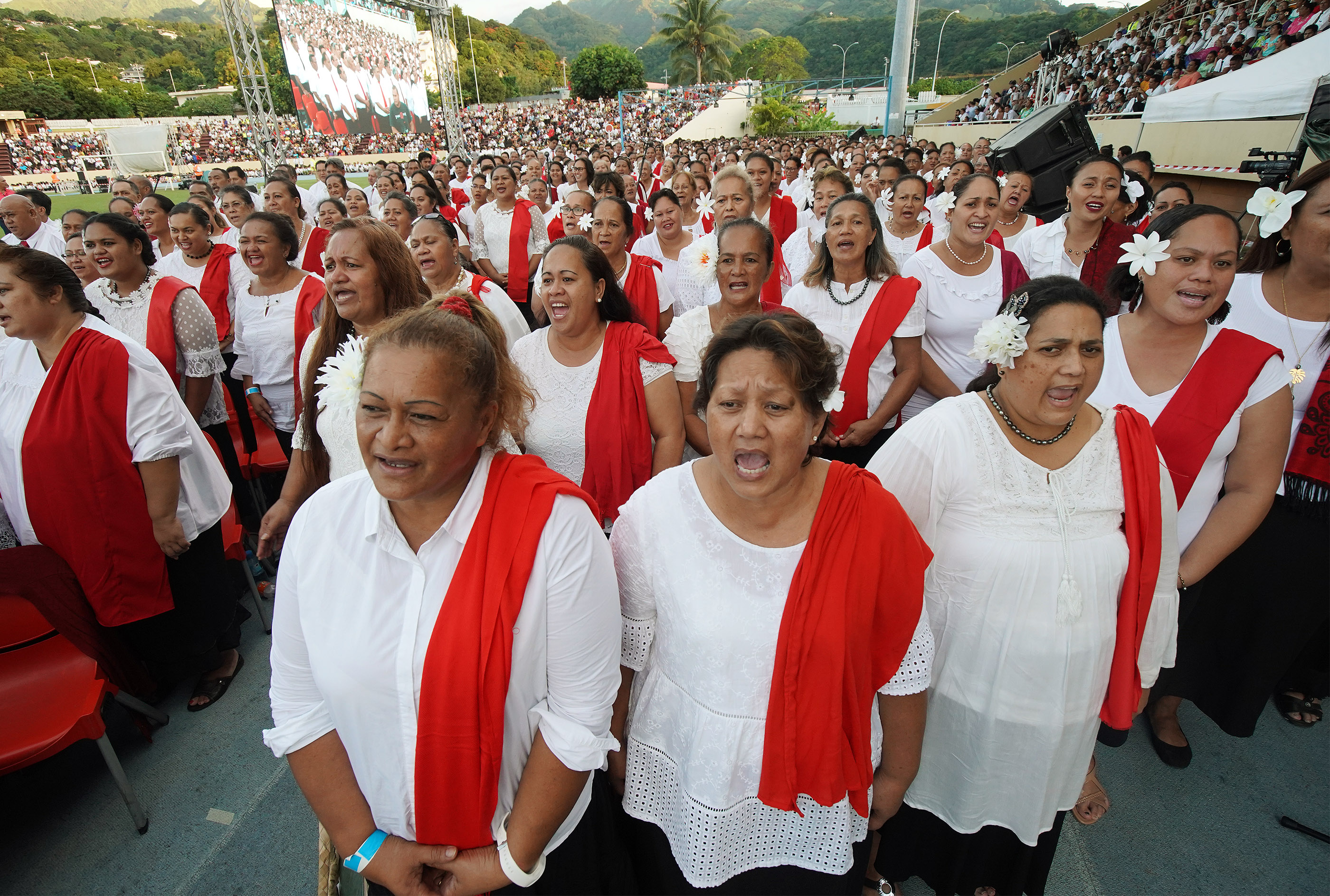 A combined choir sings during a Tahiti cultural program in Papeete, Tahiti, on May 24, 2019.