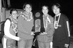 BYU-Hawaii women's volleyball team members Lelei Peniata, Ashley Moeai, Na Li and and Yu Chuan Weng are on championship team.