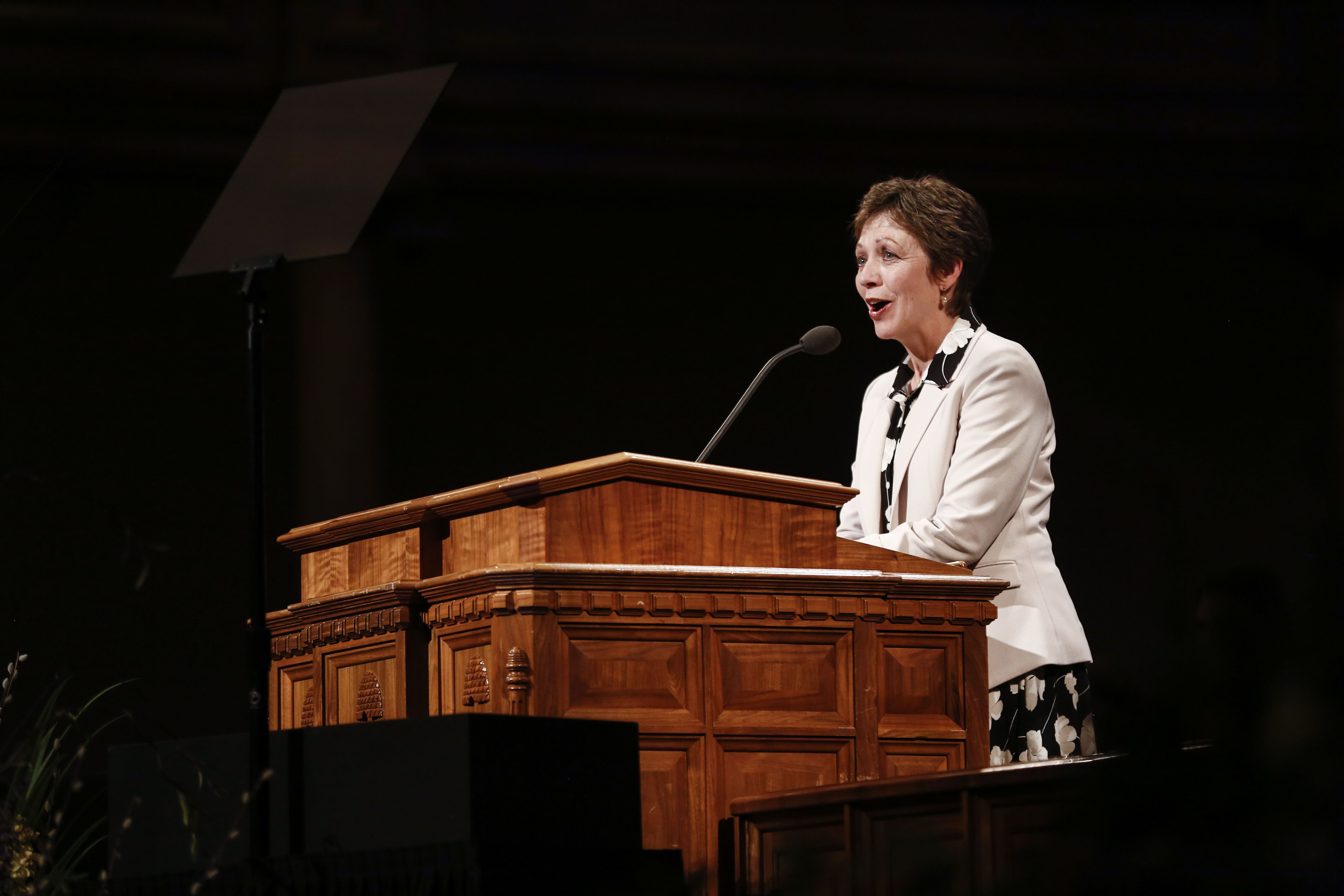 Sister Lynette Cook speaks during the Worldwide Devotional for Young Adults at the Salt Lake Tabernacle in Salt Lake City on Sunday, May 5, 2019.