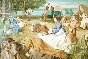 Painting by Theodore Gorka portrays Emma Smith ministering to sick in early days of Nauvoo.