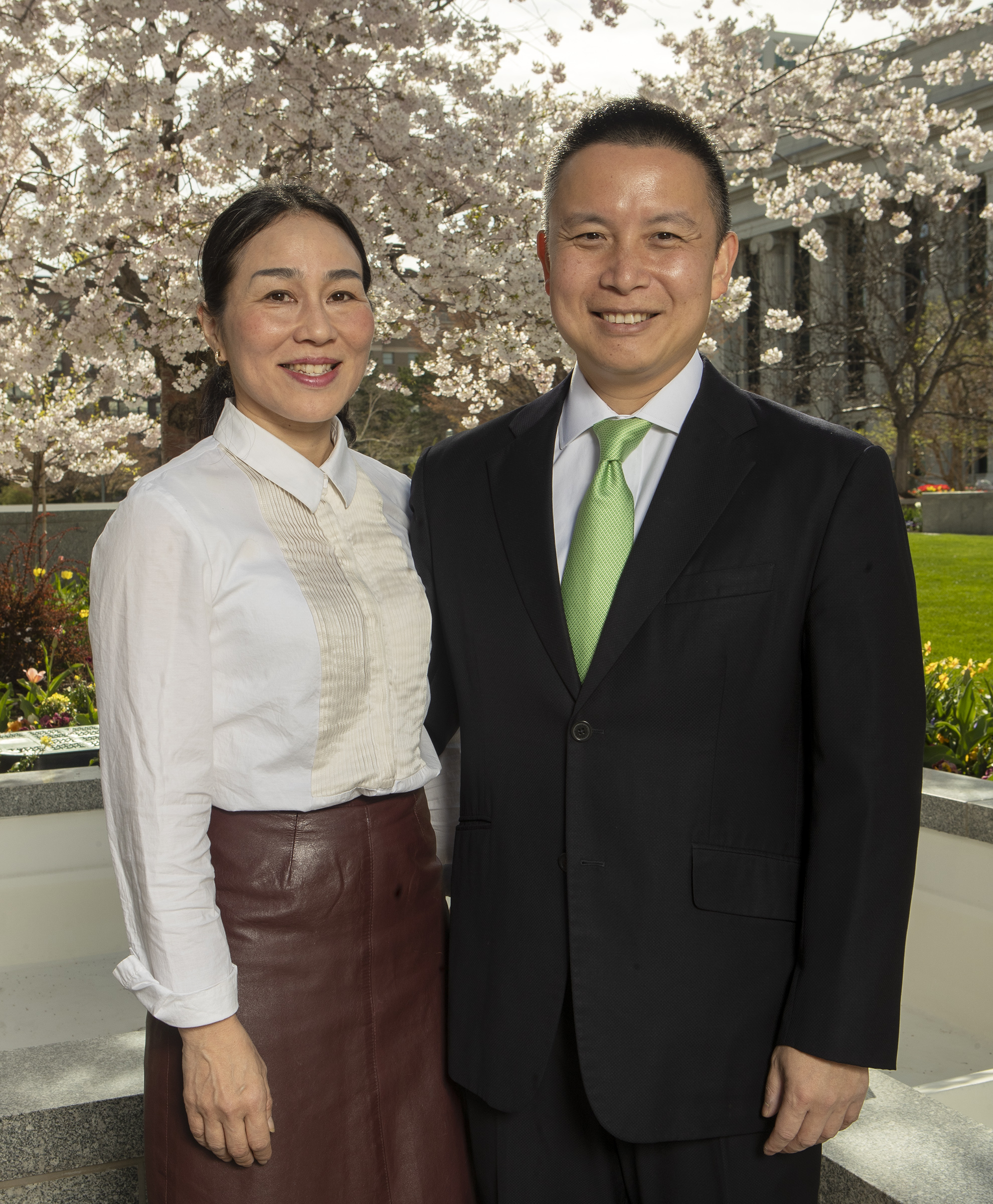 Sister Naomi Toma Tai and Elder Benjamin M. Z. Tai pose for a photo at the Church Office Building in Salt Lake City on Monday, April 8, 2019. Elder Tai was called to serve as a General Authority Seventy.