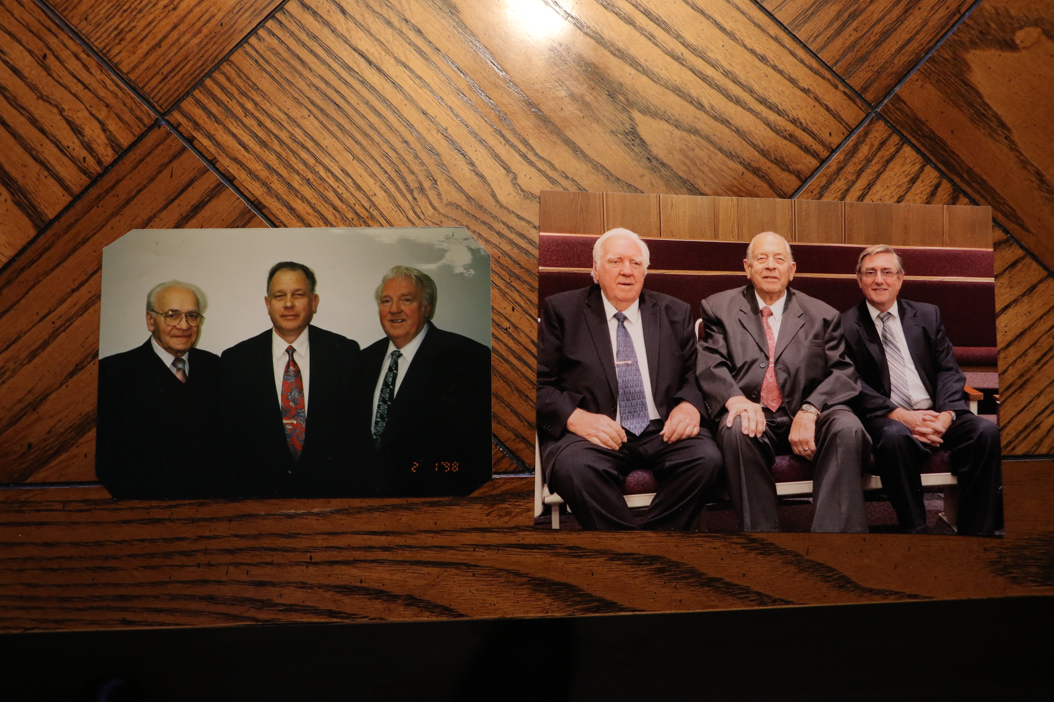 Side by side photos of Bishop Volker Diethelm Hagen with his counselors. The left photo was taken in 1998, about five years after he was set apart as bishop. The right photo was taken in 2019.