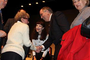 Elder Neil L. Andersen and his wife, Sister Kathy Andersen, visit with members in Bordeaux, France.