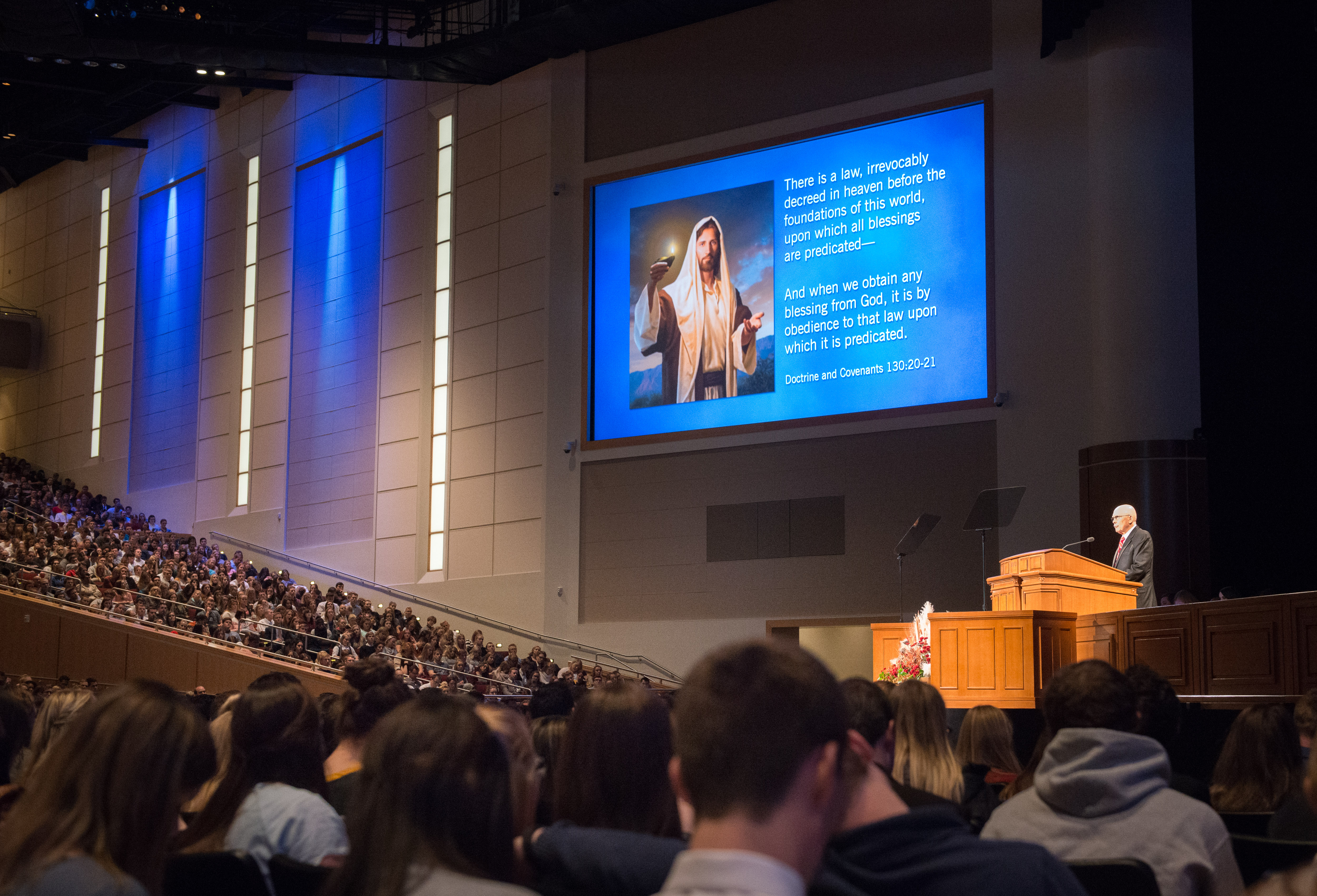 President Dallin H. Oaks of the First Presidency speaks at a BYU-Idaho campus devotional on Oct. 30.