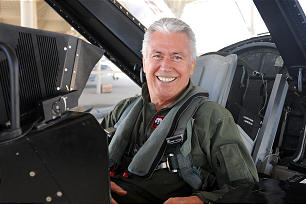 President Dieter F. Uchtdorf in an F-16 at Hill Air Force Base.