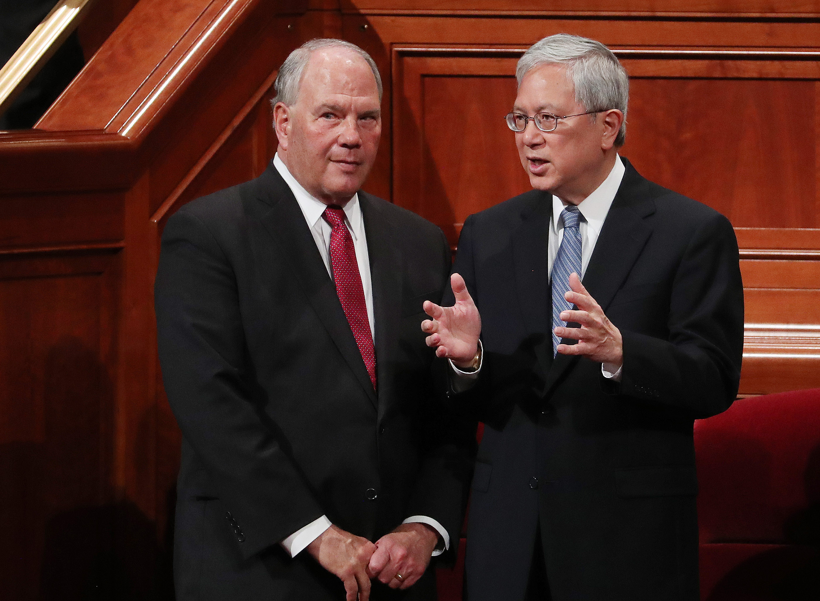 Elder Ronald A. Rasband and Elder Gerrit W. Gong of The Church of Jesus Christ of Latter-day Saints' Quorum of the Twelve Apostles speak prior to the 189th Annual General Conference of The Church of Jesus Christ of Latter-day Saints in Salt Lake City on Saturday, April 6, 2019.