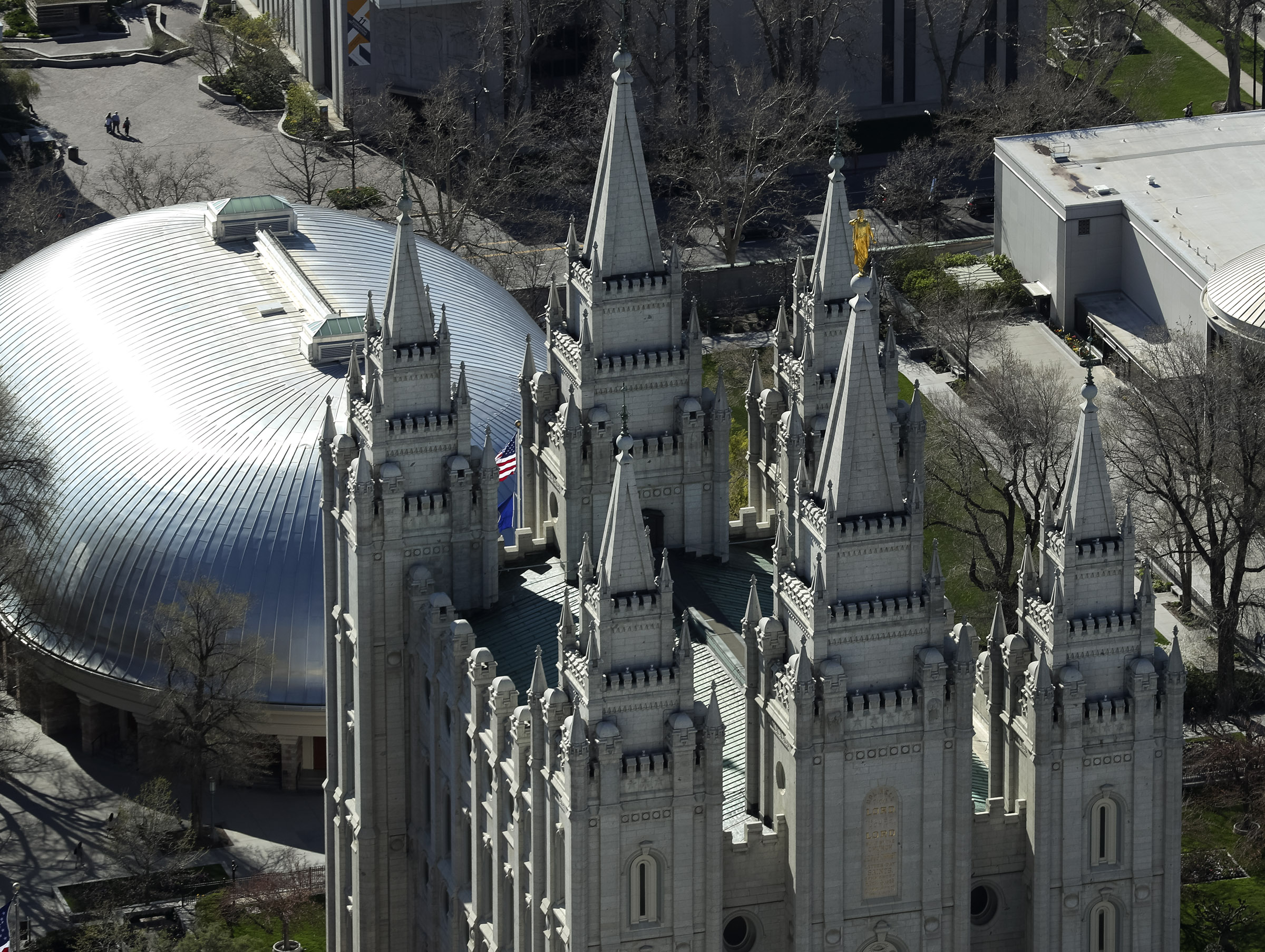 The Salt Lake Temple on Thursday, April 18, 2019. Leaders of The Church of Jesus Christ of Latter-day Saints discontinued a policy Monday morning, May 6, requiring couples who marry civilly to wait one year before being sealed in the temple.