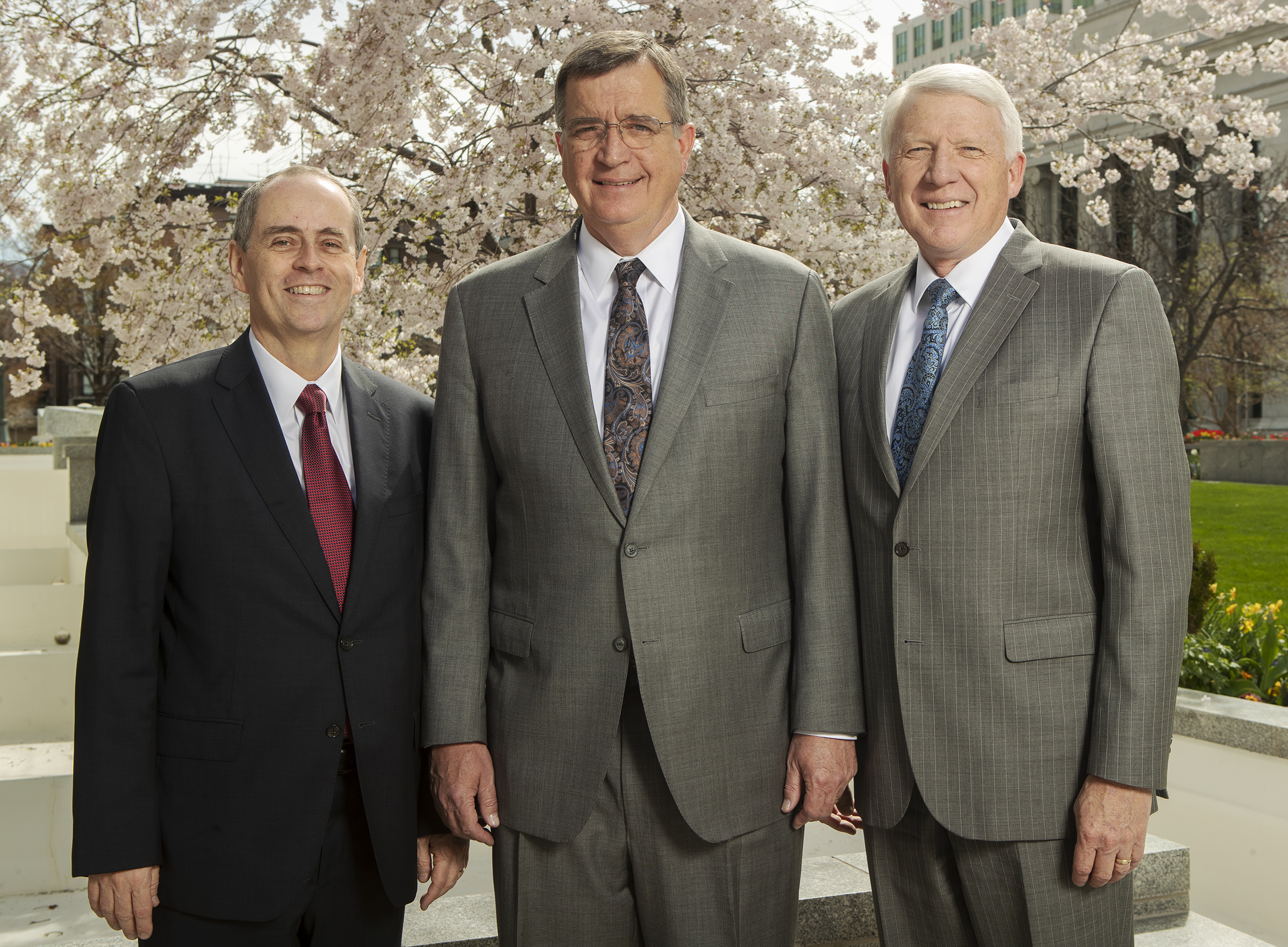 New Sunday School General Presidency, Brother Milton da Rocha Camargo, first counselor, Brother Mark L. Pace, president, and Brother Jan E. Newman, second counselor pose for a photo at the Church Office Building in Salt Lake City on Monday, April 8, 2019.