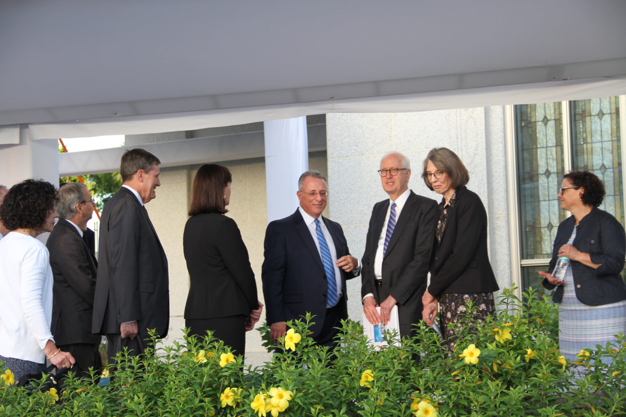 Elder Ulisses Soares of the Quorum of the Twelve Apostles and Elder Larry Y. Wilson, a General Authority Seventy and executive director of the Temple Department, at center, converse with other general authorities and wives following a walk-through of the Fortaleza Brazil Temple on Saturday, June 1, a day before its dedication.
