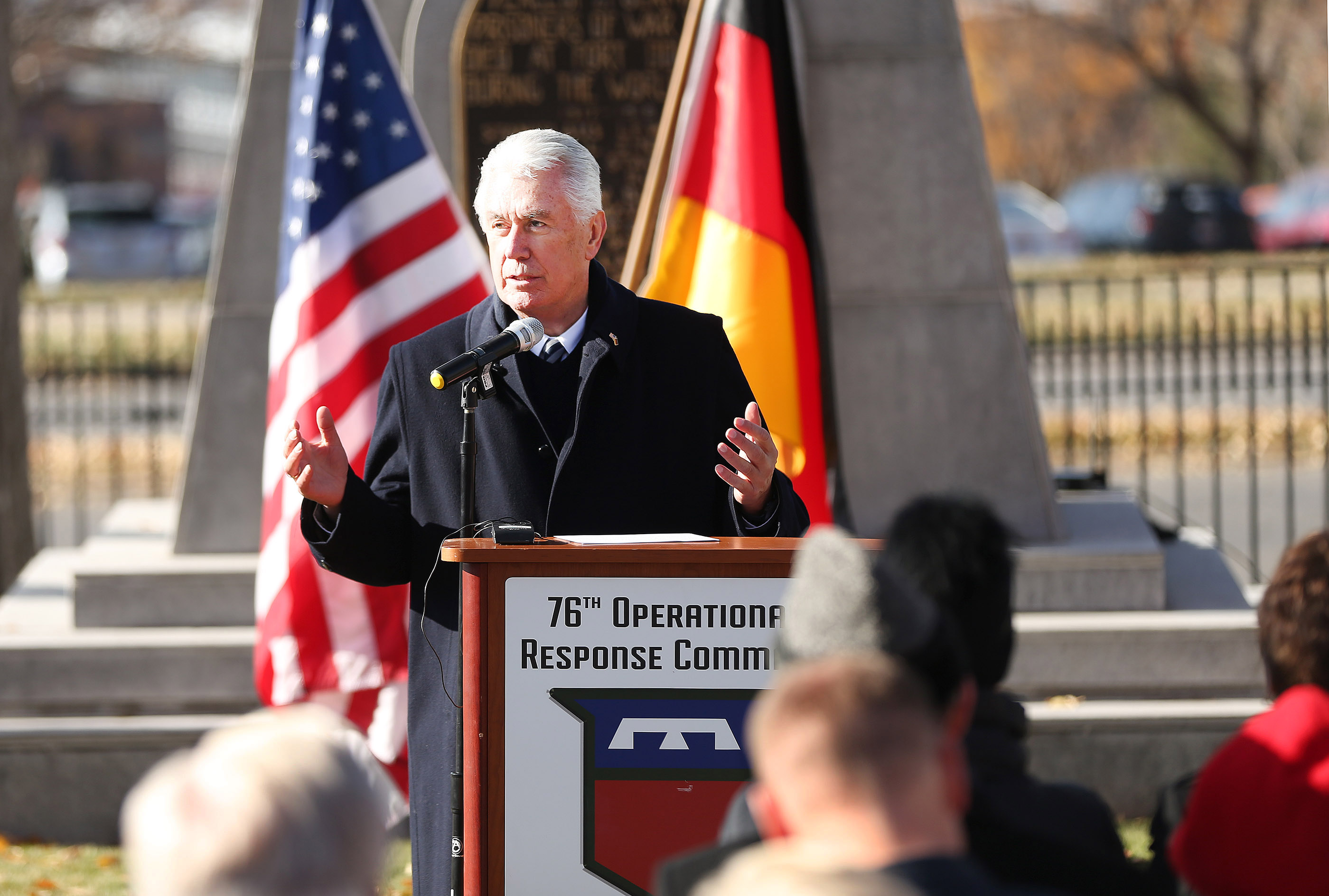 Elder Dieter F. Uchtdorf of The Church of Jesus Christ of Latter-day Saints' Quorum of the Twelve Apostles, speaks during the German Day of Remembrance (Volkstrauertag) at Fort Douglas Military Cemetery in Salt Lake City on Sunday, Nov. 18, 2018.