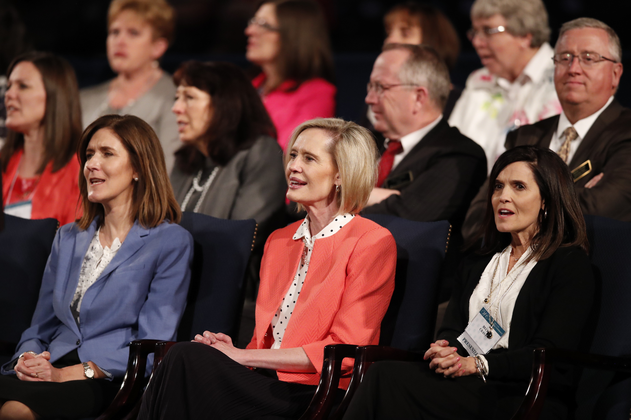 From left, Sister Michelle D. Craig, Sister Bonnie H. Cordon, and Sister Becky Craven of the Young Women general presidency at the Marriott Center at BYU Women's Conference on May 3, 2018.