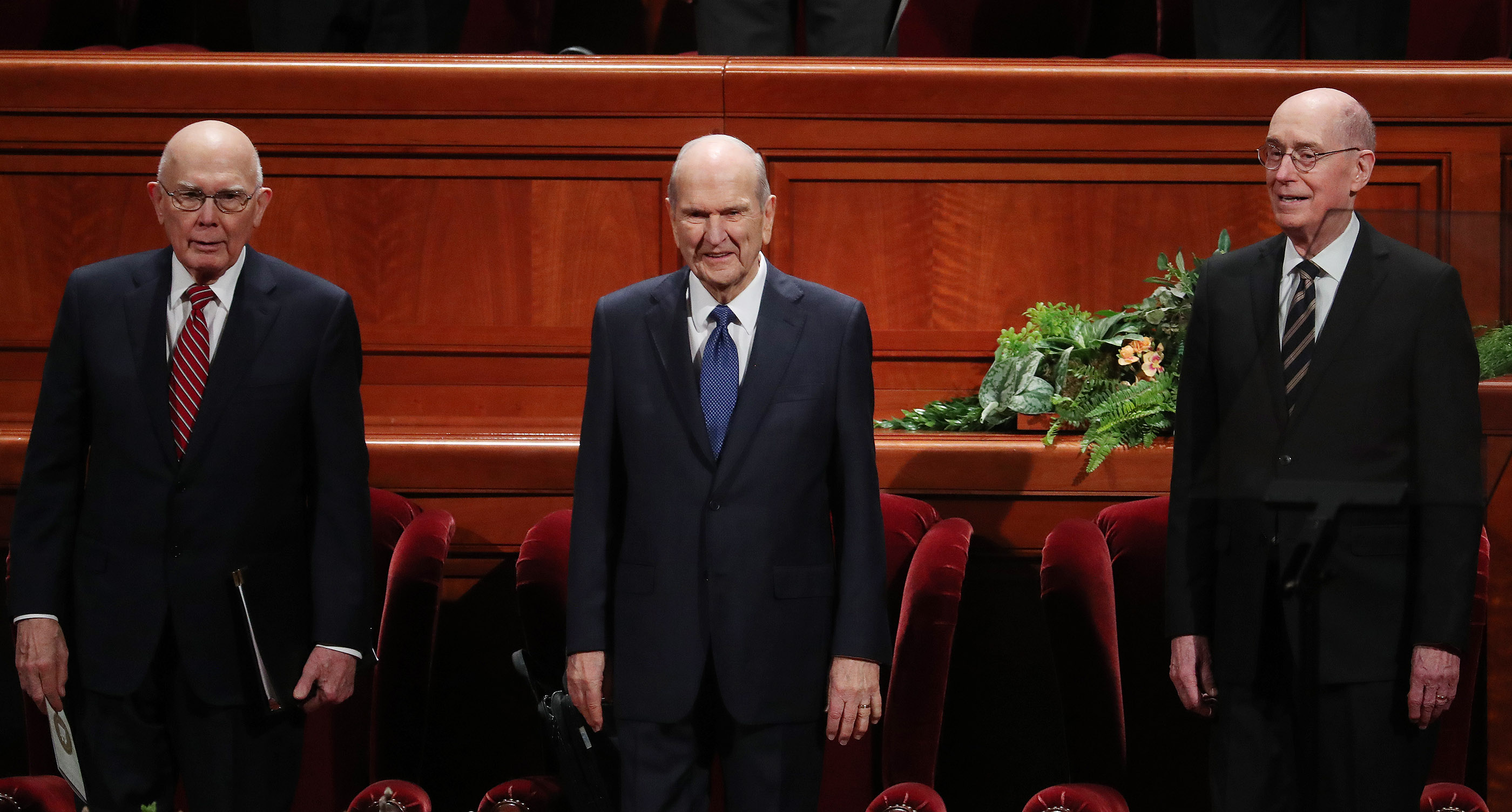 President Russell M. Nelson, center, and his counselors, President Dallin H. Oaks, first counselor in the First Presidency, left, and President Henry B. Eyring, second counselor in the First Presidency, right, enter the Conference Center prior to the Sunday morning session of the 189th Annual General Conference of The Church of Jesus Christ of Latter-day Saints in the Conference Center in Salt Lake City on Sunday, April 7, 2019.