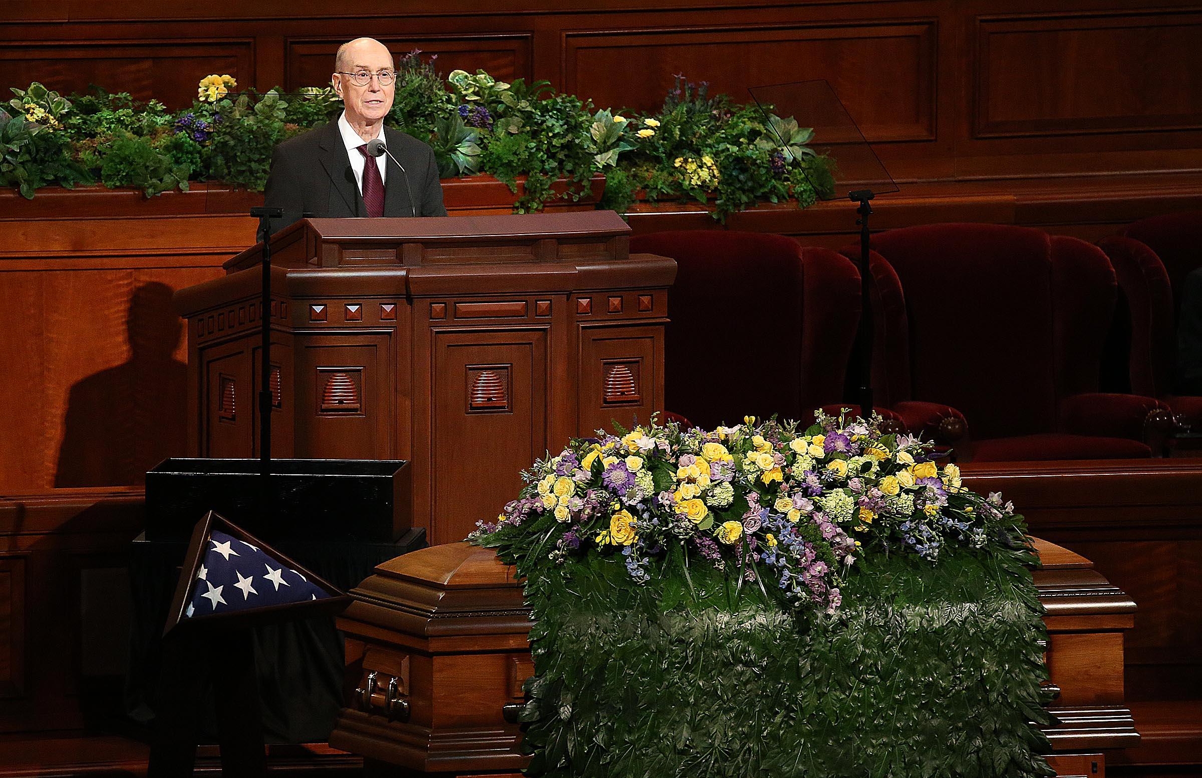 President Henry B. Eyring speaks at Church President Thomas S. Monson's funeral at the Conference Center in Salt Lake City on Friday, Jan. 12, 2018. President Eyring was one of President Monson's counselors.