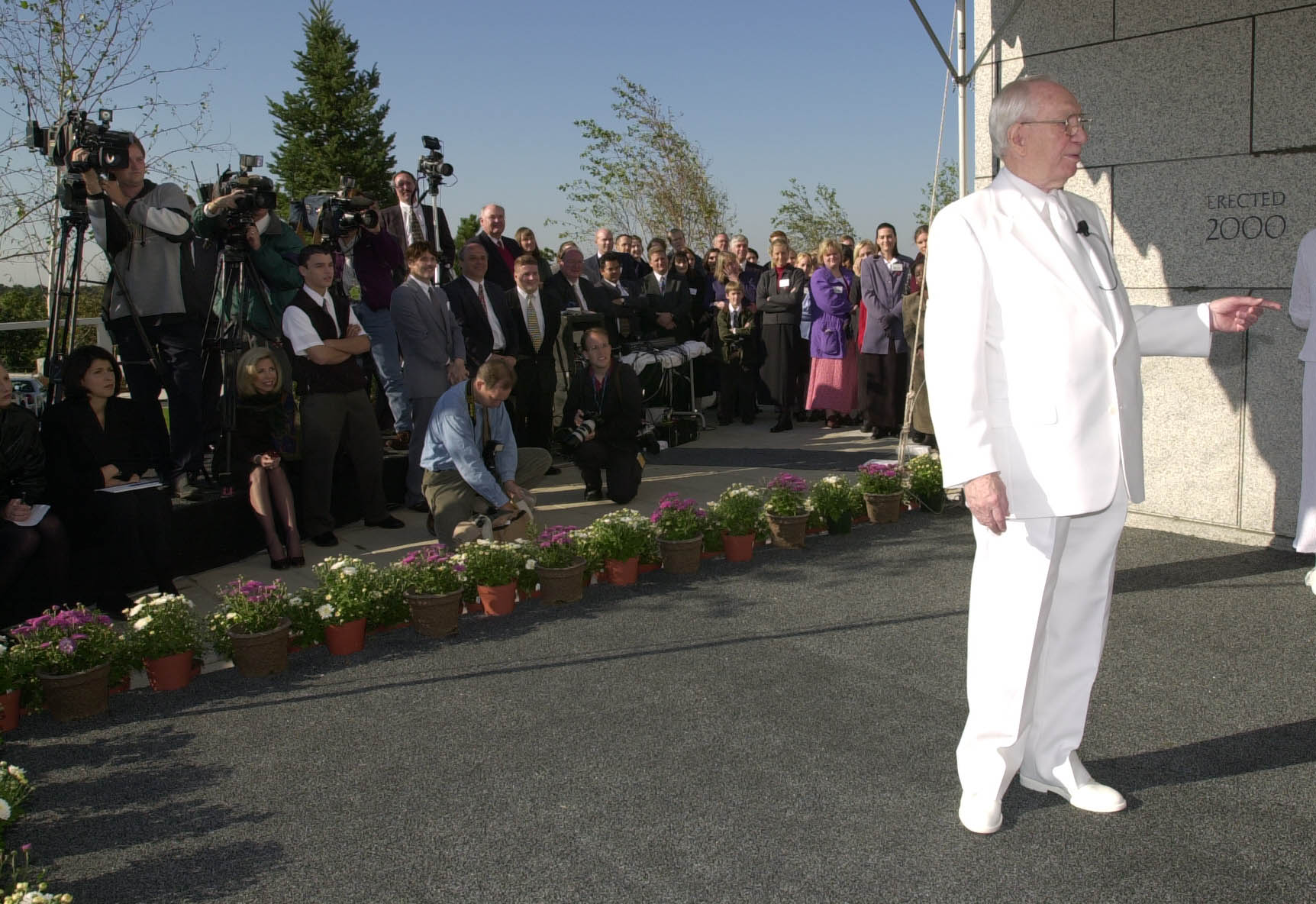 President Gordon B. Hinckley at the cornerstone with media at the Boston Massachusetts Temple dedication.