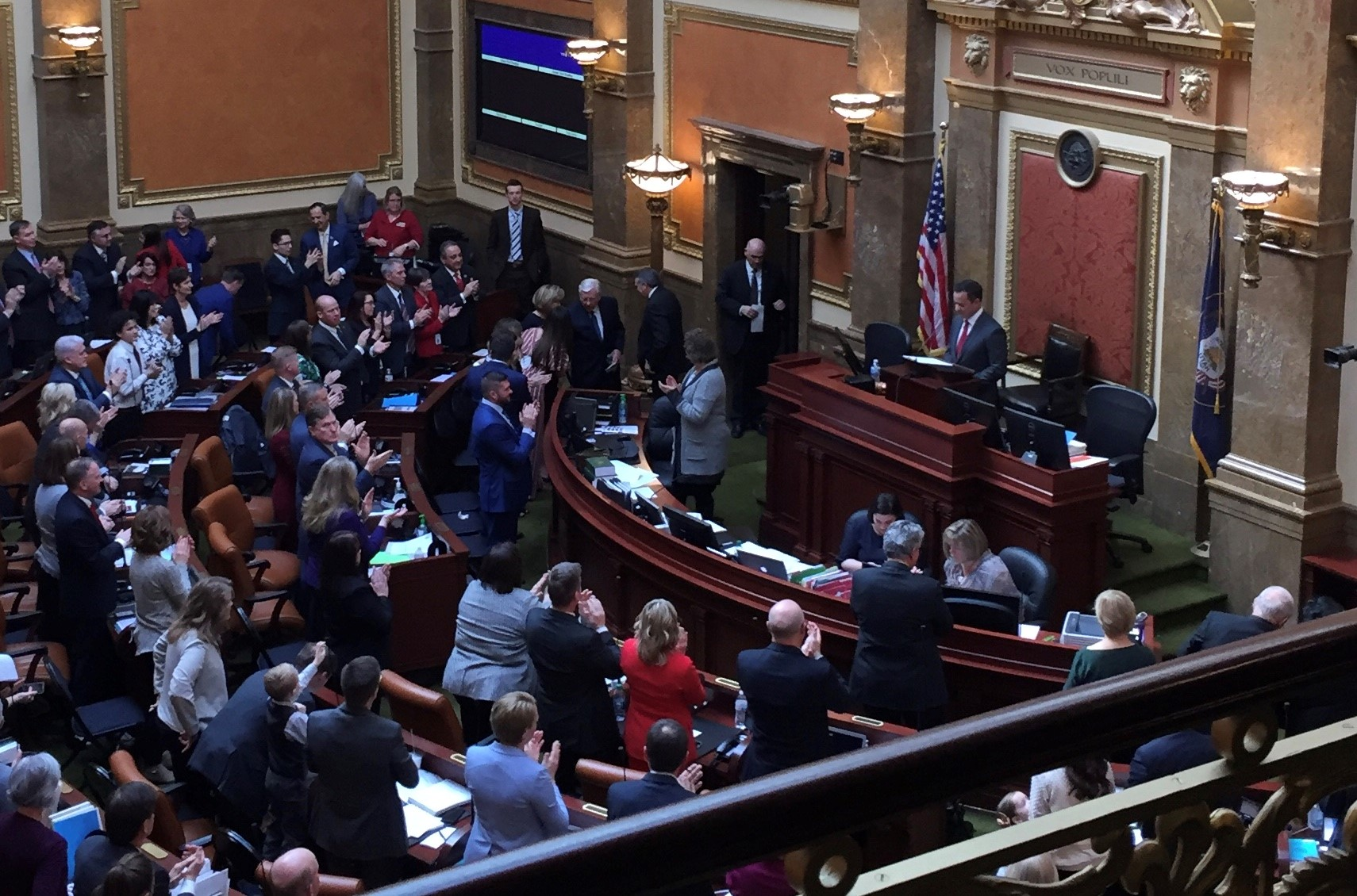 The Utah House of Representatives, as seen on Monday, Jan. 28, 2019, the start of the 2019 legislative session. President M. Russell Ballard, Acting President of the Quorum of the Twelve Apostles, who can be seen at the end of the front row in front of the rostrum, offered the innovation in the House; Elder Jack N. Gerard, a General Authority Seventy, in the Utah Senate on the same day.