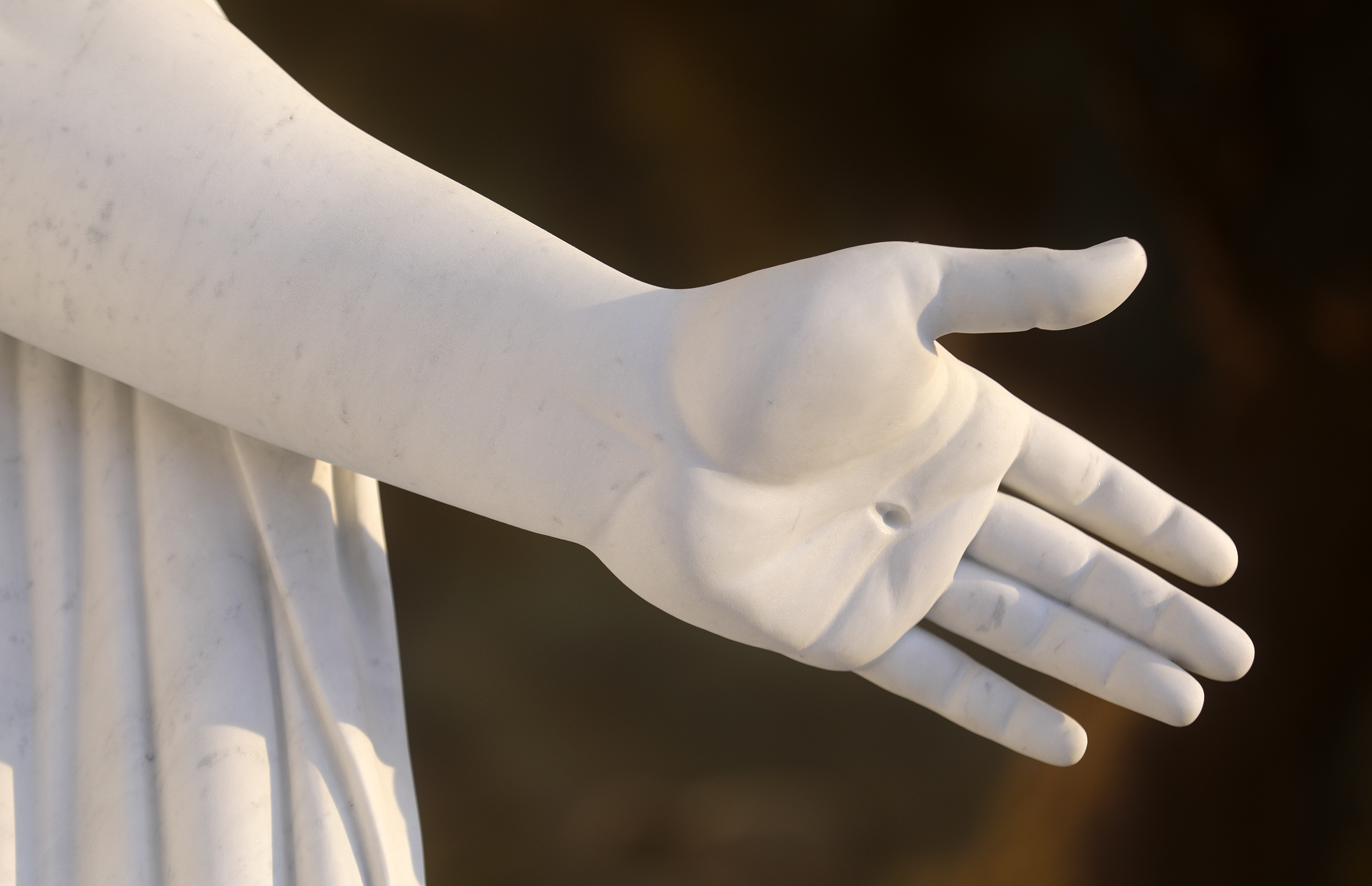 The pierced hand of a replica of Bertel Thorvaldsen's Christus statue in the visitors' center for the Rome Temple in Rome, Italy, on Friday, Nov. 16, 2018.