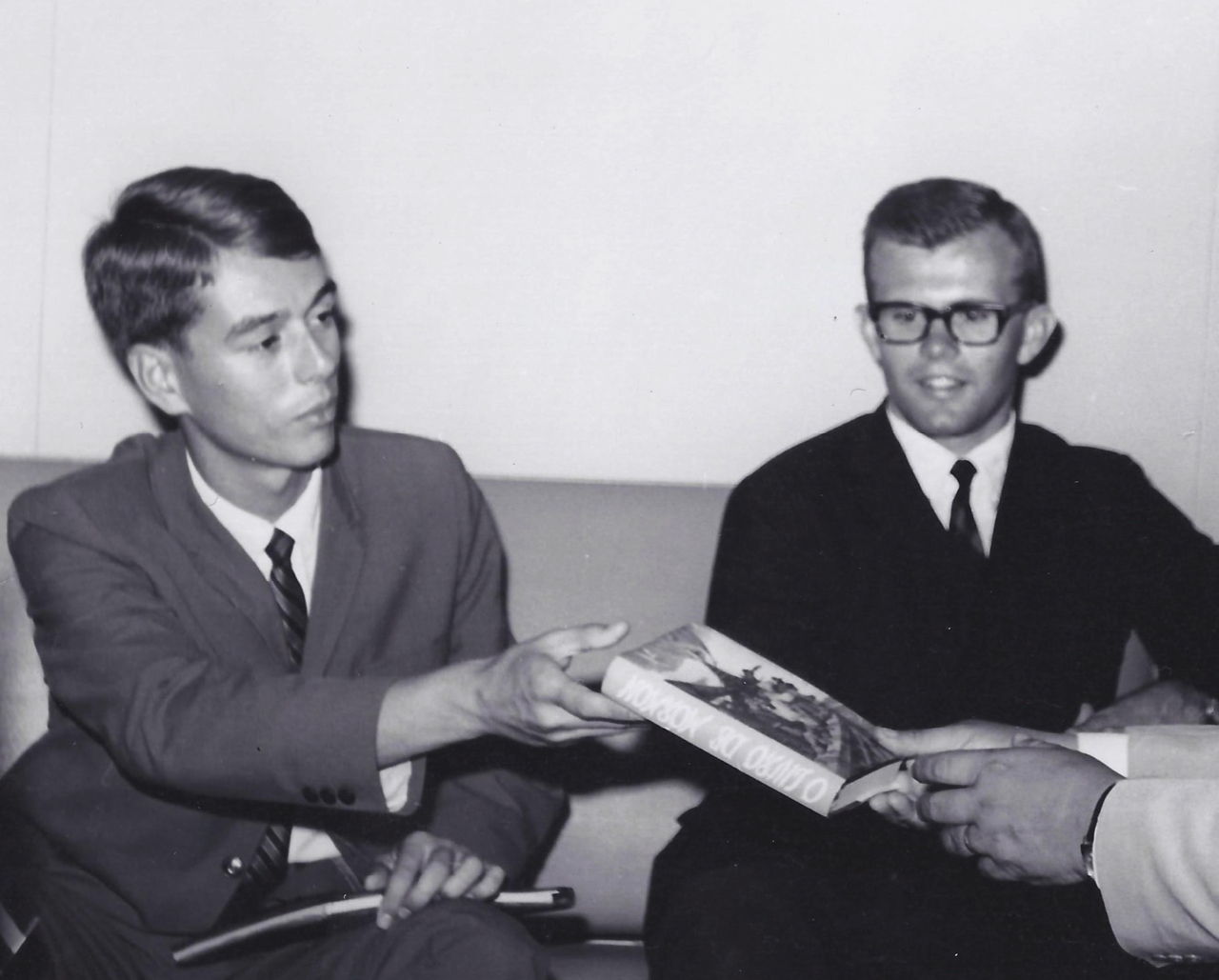 Elder Robert Dionne, right, and Elder John Beck — here presenting a Book of Mormon to the mayor of Fortaleza, Brazil, in 1966 — were among the first missionaries to serve in the city.