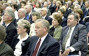 Mission presidents and their wives gather for training in the Provo Missionary Training Center.