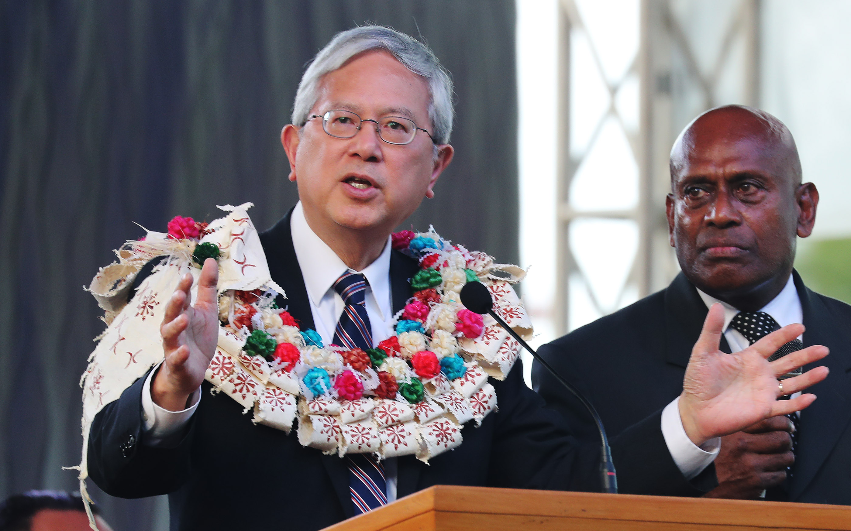 Elder Elder Gerrit W. Gong, of The Church of Jesus Christ of Latter-day Saints' Quorum of the Twelve Apostles speaks during a devotional in Nausori, Fiji, on May 22, 2019.