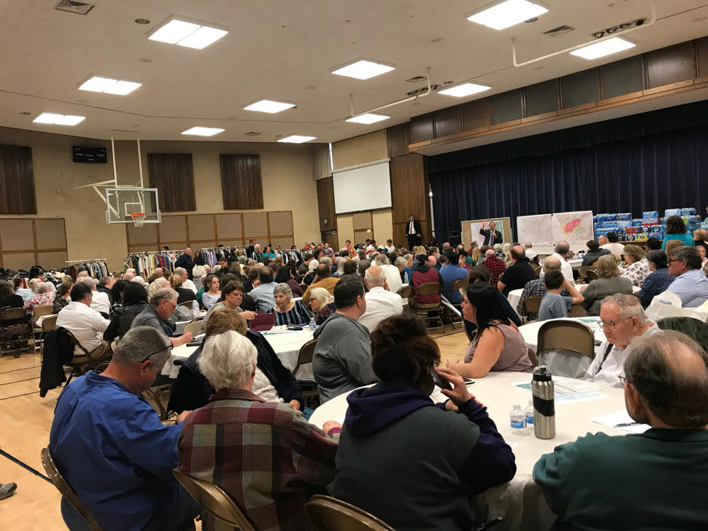 Members of the Paradise 1st and Paradise 2nd wards meet together on Nov. 11, 2018, for Sabbath Day worship and post-disaster assistance at the Chico California Stake Center.
