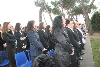 Italian Church members provide music during the Rome Italy Temple groundbreaking ceremony.