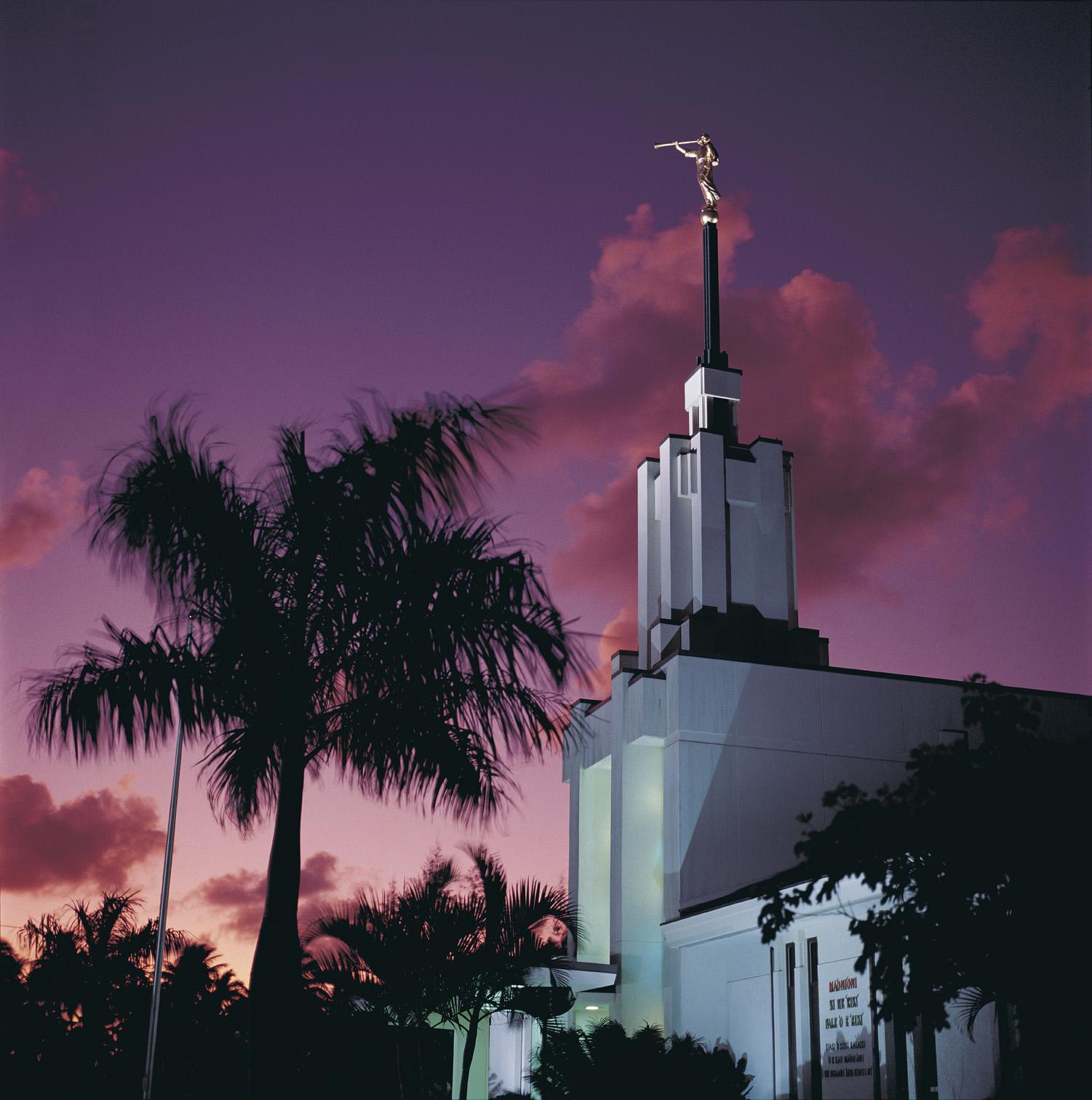 The Nuku'alofa Tonga Temple at sunset.