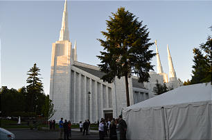 A tent was erected on the Portland Oregon Temple grounds to host guests at the dedication of the new visitors' center. The site of a former Church distribution center, the visitors' center has been open since February 2012.