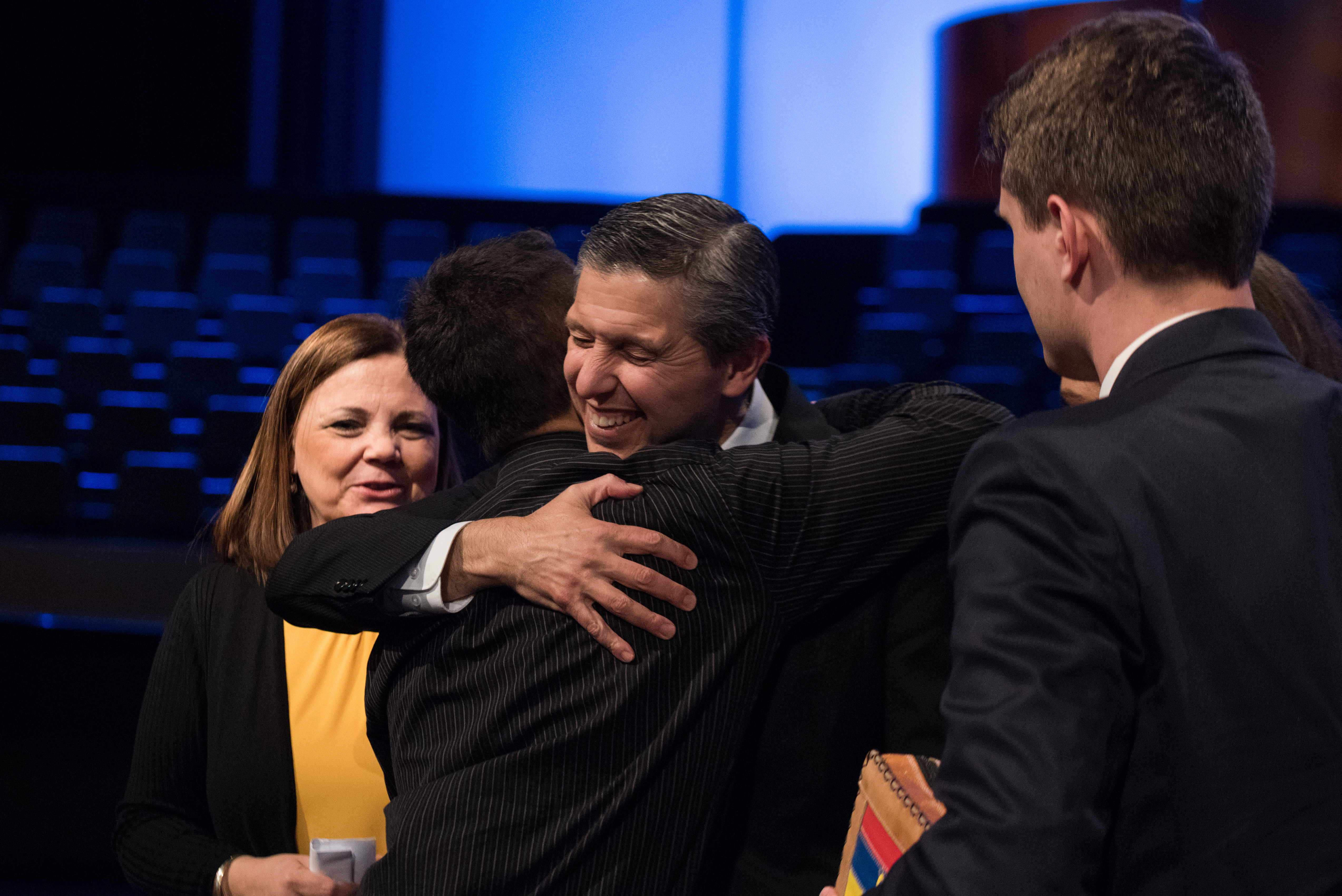 Elder Joaquin E. Costa and his wife, Sister Renee Costa, greet students following a devotional at BYU–Idaho on Feb. 26.
