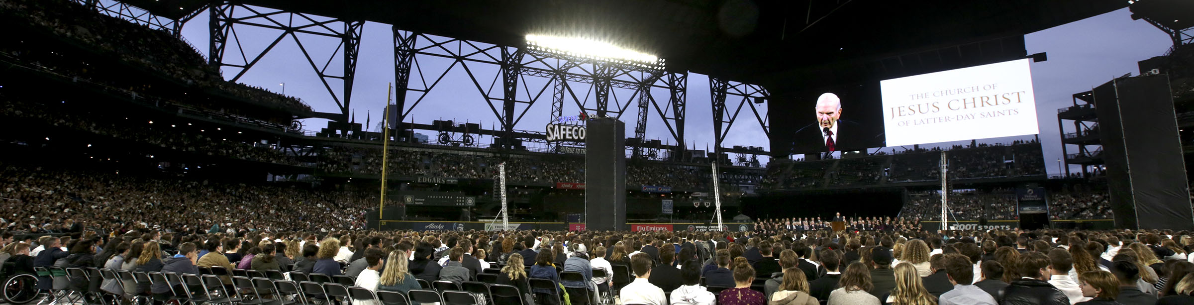 President Russell M. Nelson of The Church of Jesus Christ of Latter-day Saints, speaks at Safeco Field in Seattle, Wash., on Saturday, Sept. 15, 2018.