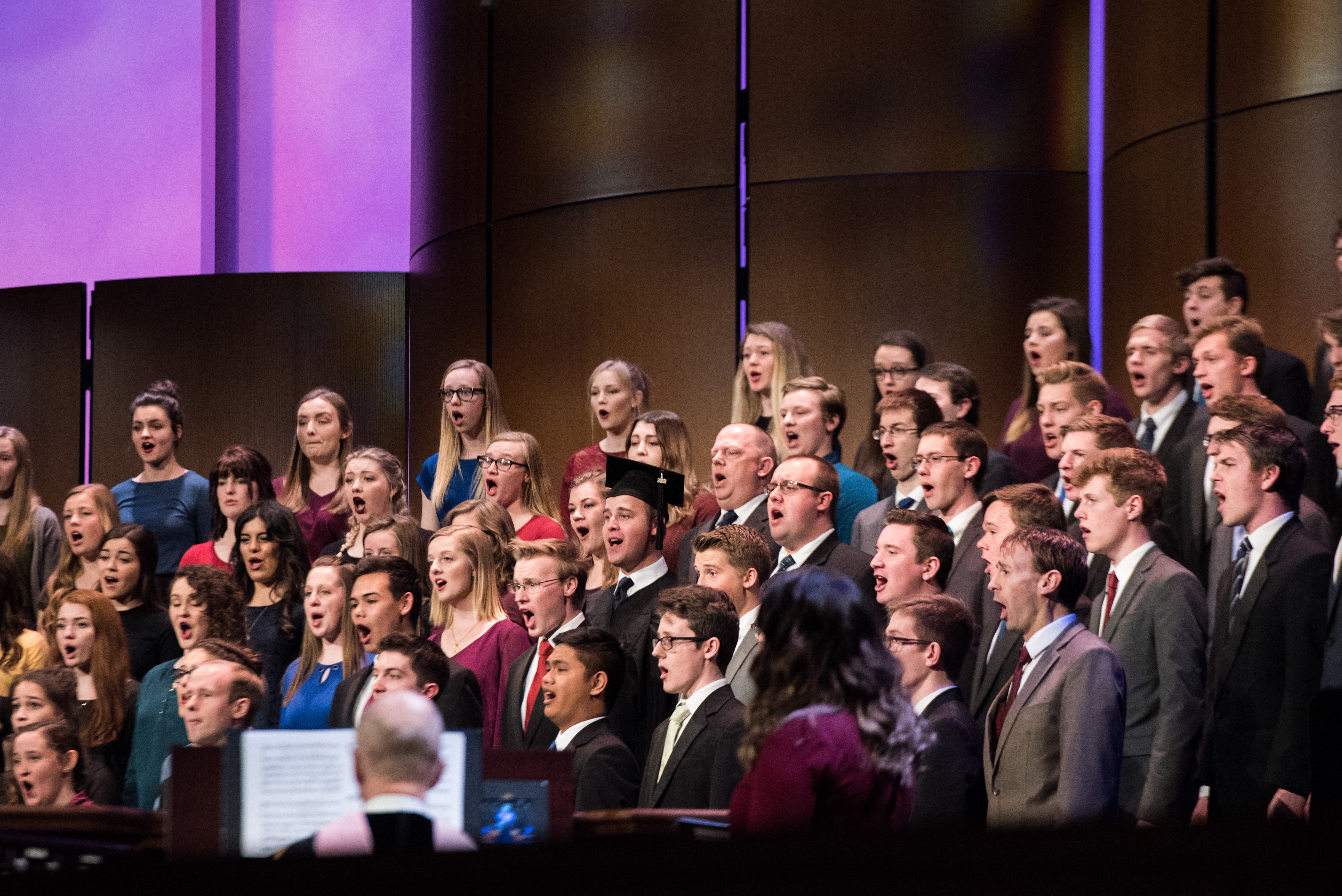 BYU-Idaho Choir performs during commencement exercises on April 12, 2019.