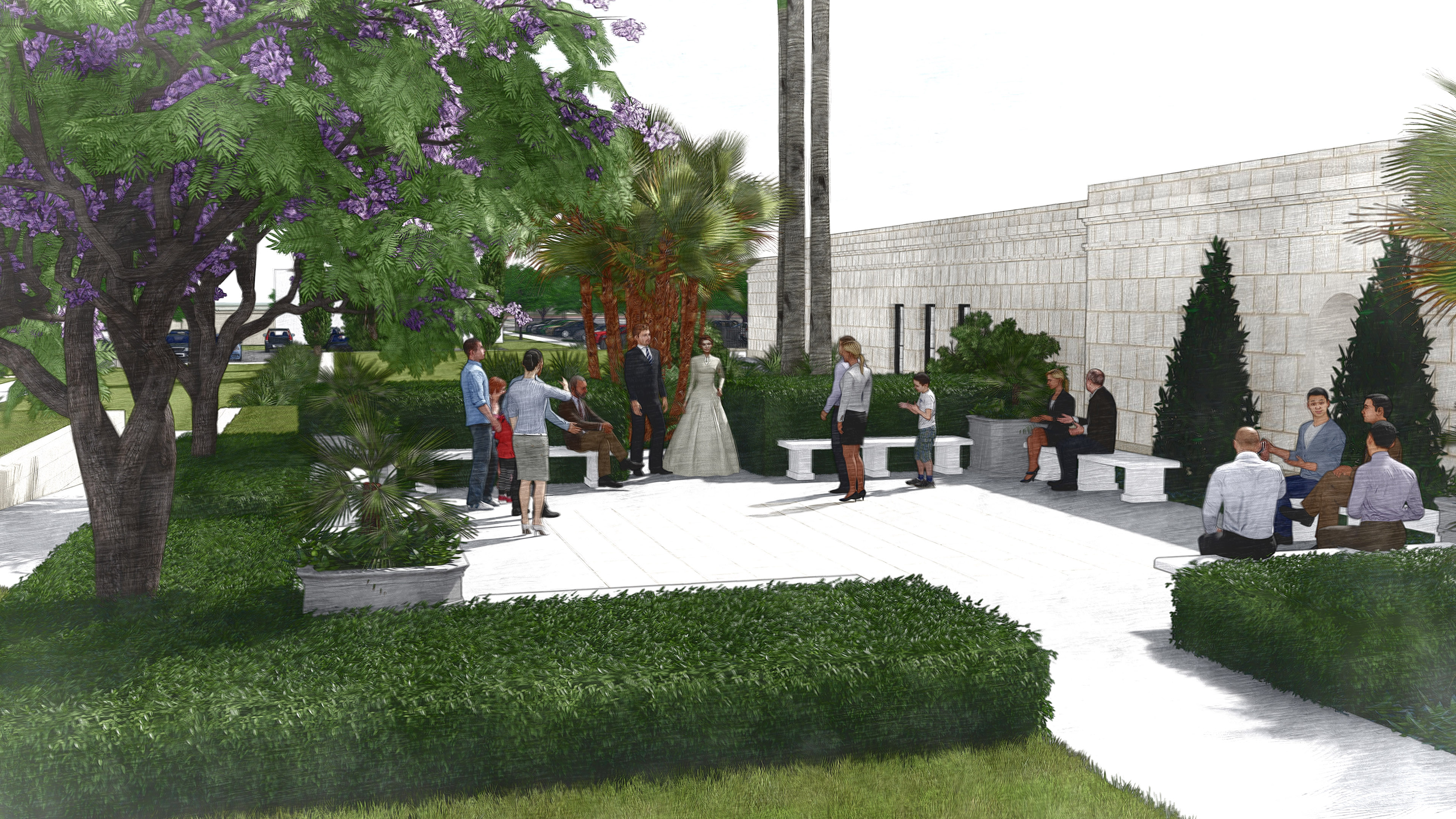 Rendering of the bride's exit area at the Mesa Arizona Temple after renovation.