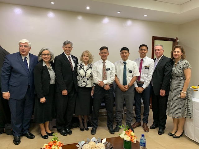 On Feb. 23, 2019, Elder Ulisses Soares visited with the three missionaries in the Dominican Republic who were serving with Elder Brennan Conrad at the time of his death. Joining the apostle was Sister Rosana Soares; Elder Jose Teixeria of the Presidency of the Seventy; Sister Filomena Teixeria; Dominican Republic Santo Domingo East Mission President Bret Smith; and Sister Jeanette Smith.