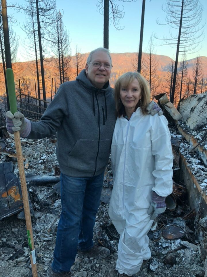 Doug and Sandi Anderson in Paradise, California after the fire.