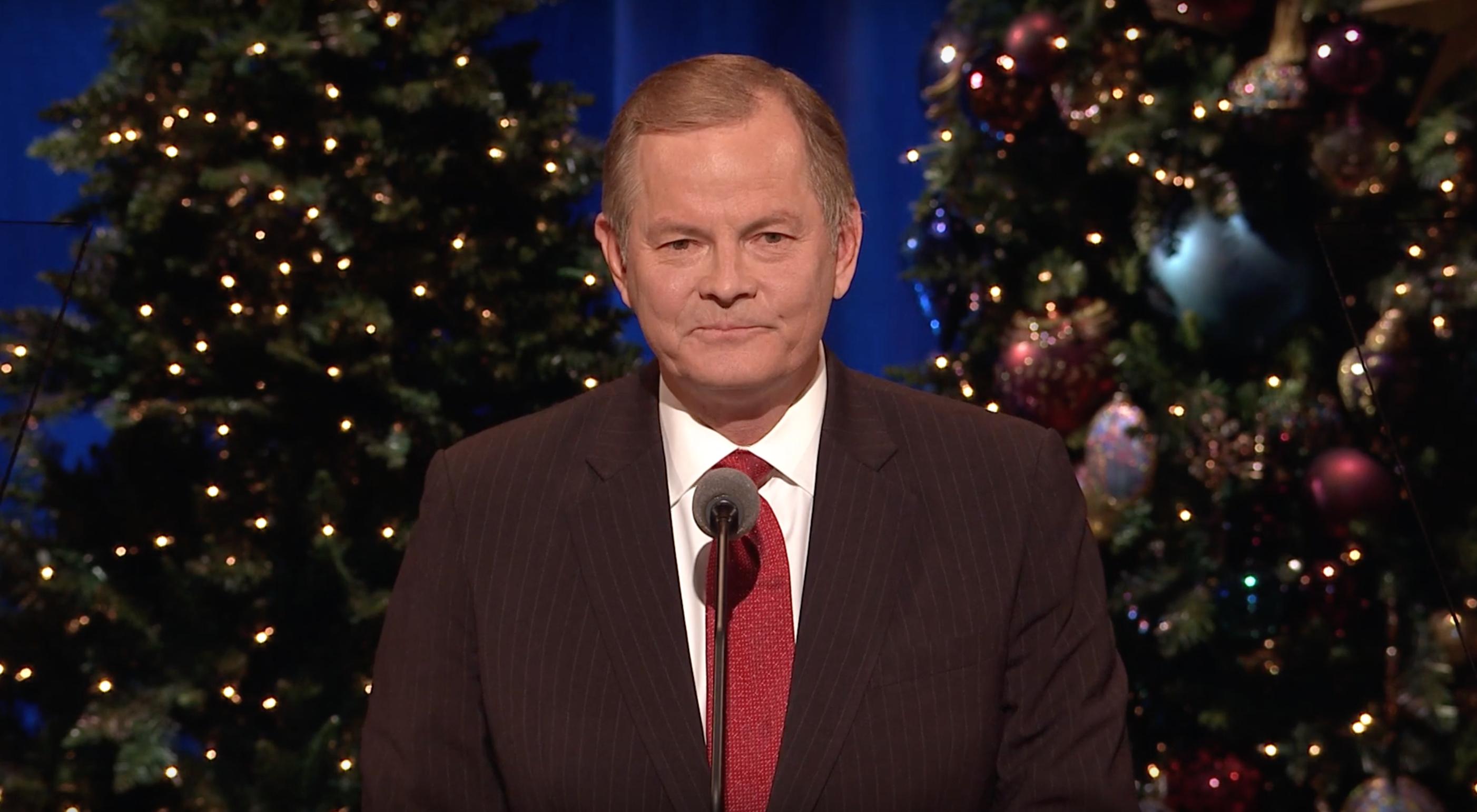 Elder Gary E. Stevenson speaks during the First Presidency's Christmas Devotional on Dec. 2, 2018.