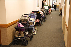 strollers outside married students ward is known as stroller lane.