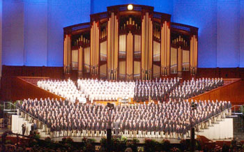 The Mormon Tabernacle Choir (rear) is joined by the 600 members of The Barbershop Harmony Society's Gold Medal Chorus during Music & The Spoken Word from the LDS Conference Center in Salt Lake City, Utah July 10, 2005. Keith Johnson/ Deseret Morning News